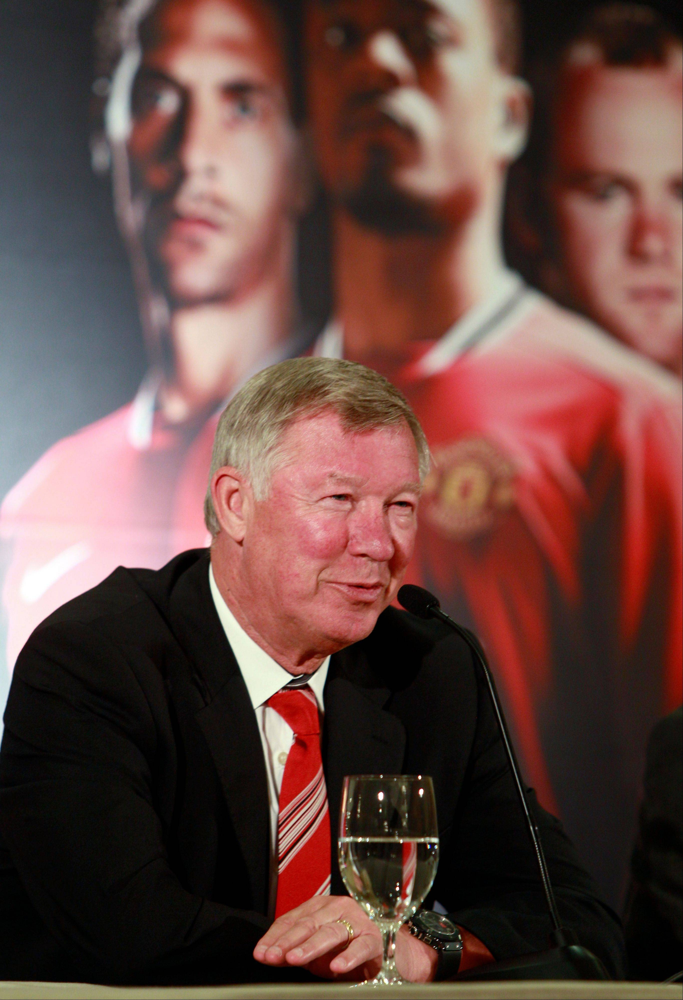 Manchester United manager Sir Alex Ferguson smiles as he speaks at a soccer news conference Thursday in advance of Saturday's match against the Chicago Fire at Soldier Field.