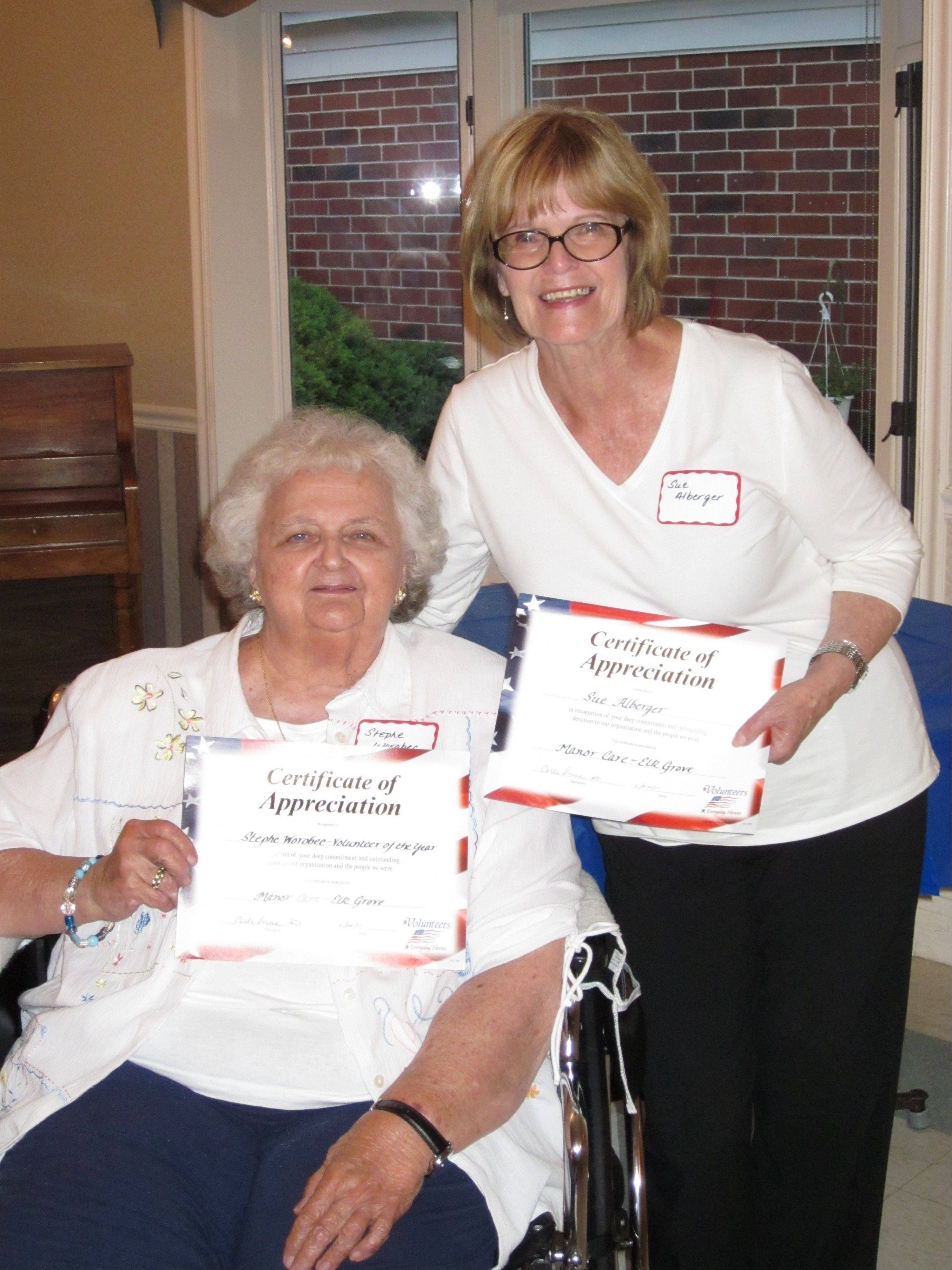 ManorCare of Elk Grove Village Volunteers of the Year Stephe Worobec and Sue Alberger at the �Volunteers are Everyday Heroes� appreciation event in June.