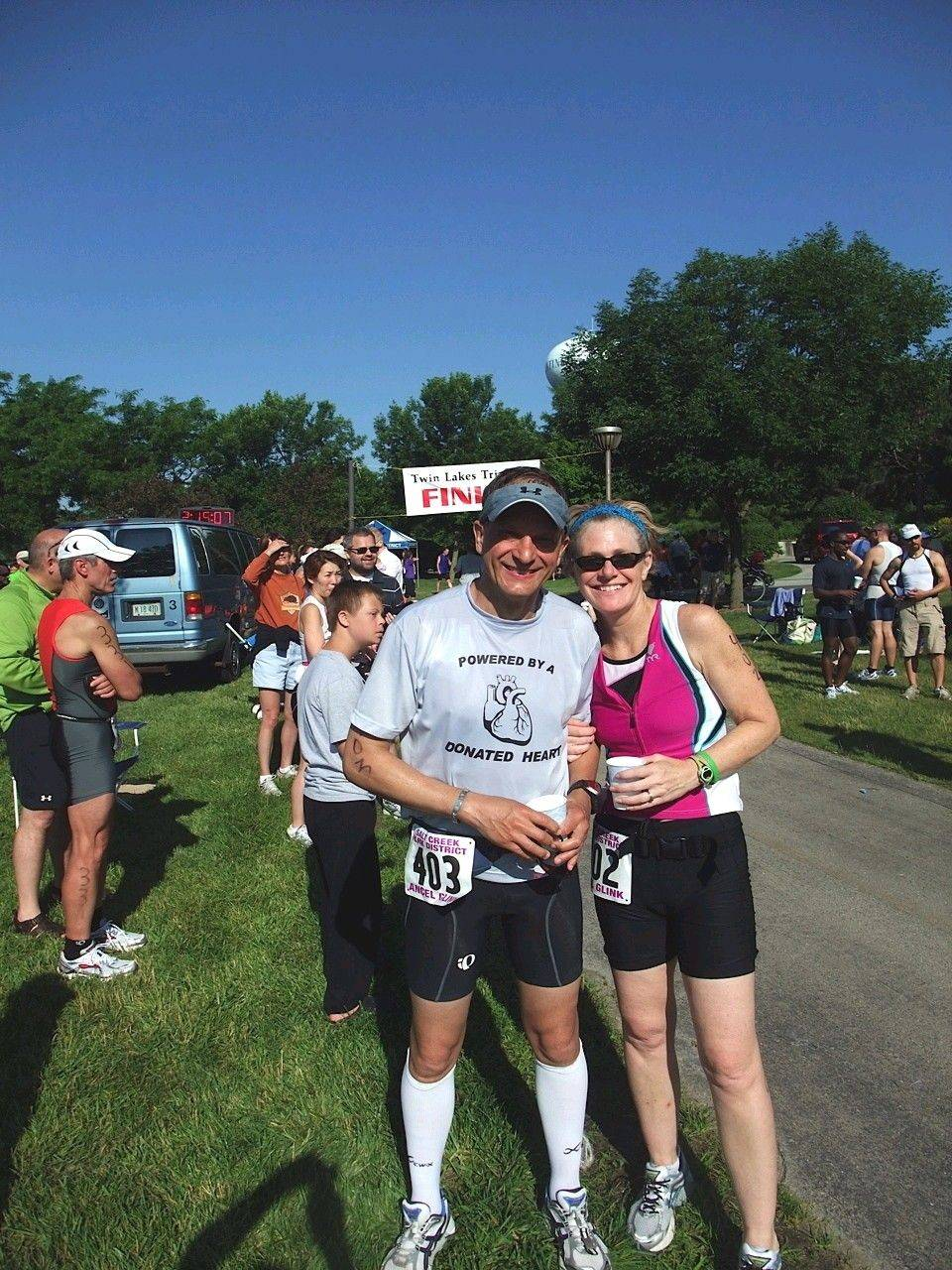 Kevin and Maureen Lue continue their active lifestyles, even after Kevin's heart transplant. Here they are the day of the Twin Lakes Triathalon in Palatine.