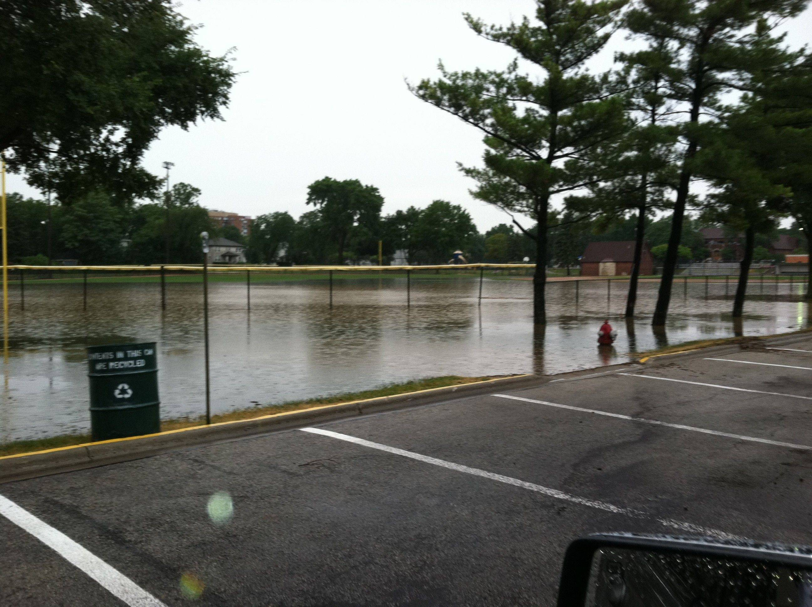 Adam Russell shot this picture of flooding Saturday morning in Recreation Park in Arlington Heights.