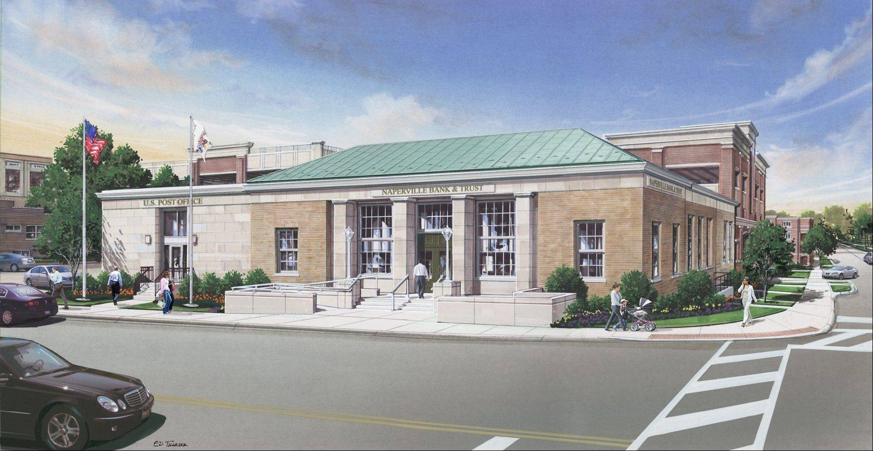 The exterior of the downtown Naperville Post Office will be returned to its original 1939 grandeur when it becomes the new downtown home of Naperville Bank & Trust early next year.