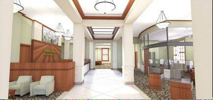 Design of the interior of the new Naperville Bank & Trust branch in downtown Naperville preserves historic details including marble wainscot, oak windows, a mural and furnishings from the original 1939 Post Office building it will inhabit.