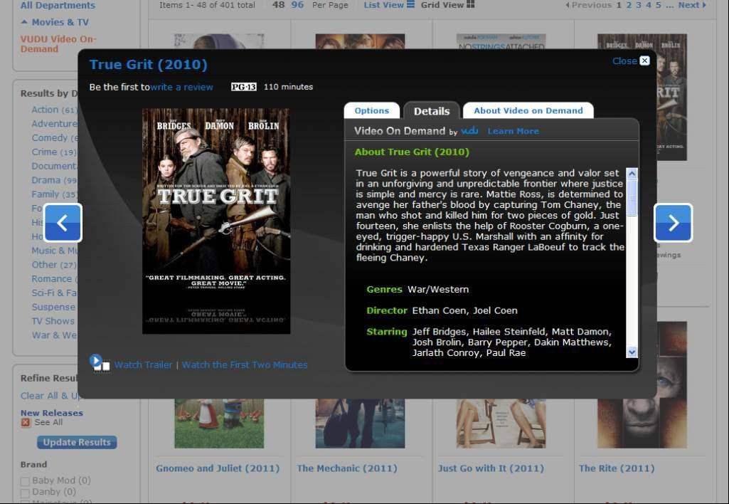 The film �True Grit� is shown as one of the titles available on Walmart�s new video-streaming service. The world�s largest retailer on Tuesday started streaming many movies the same day they come out on DVD.