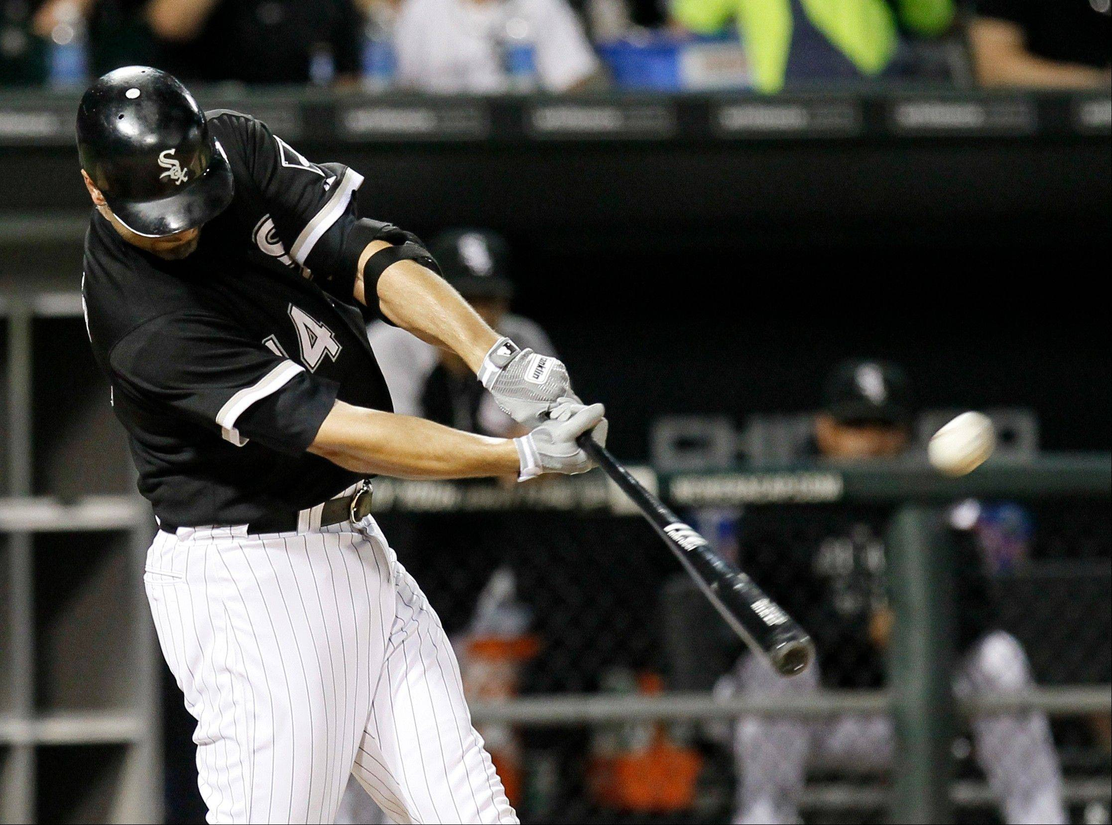 White Sox first baseman Paul Konerko hits a two-run homer off Detroit�s Justin Verlander during Tuesday�s sixth inning.