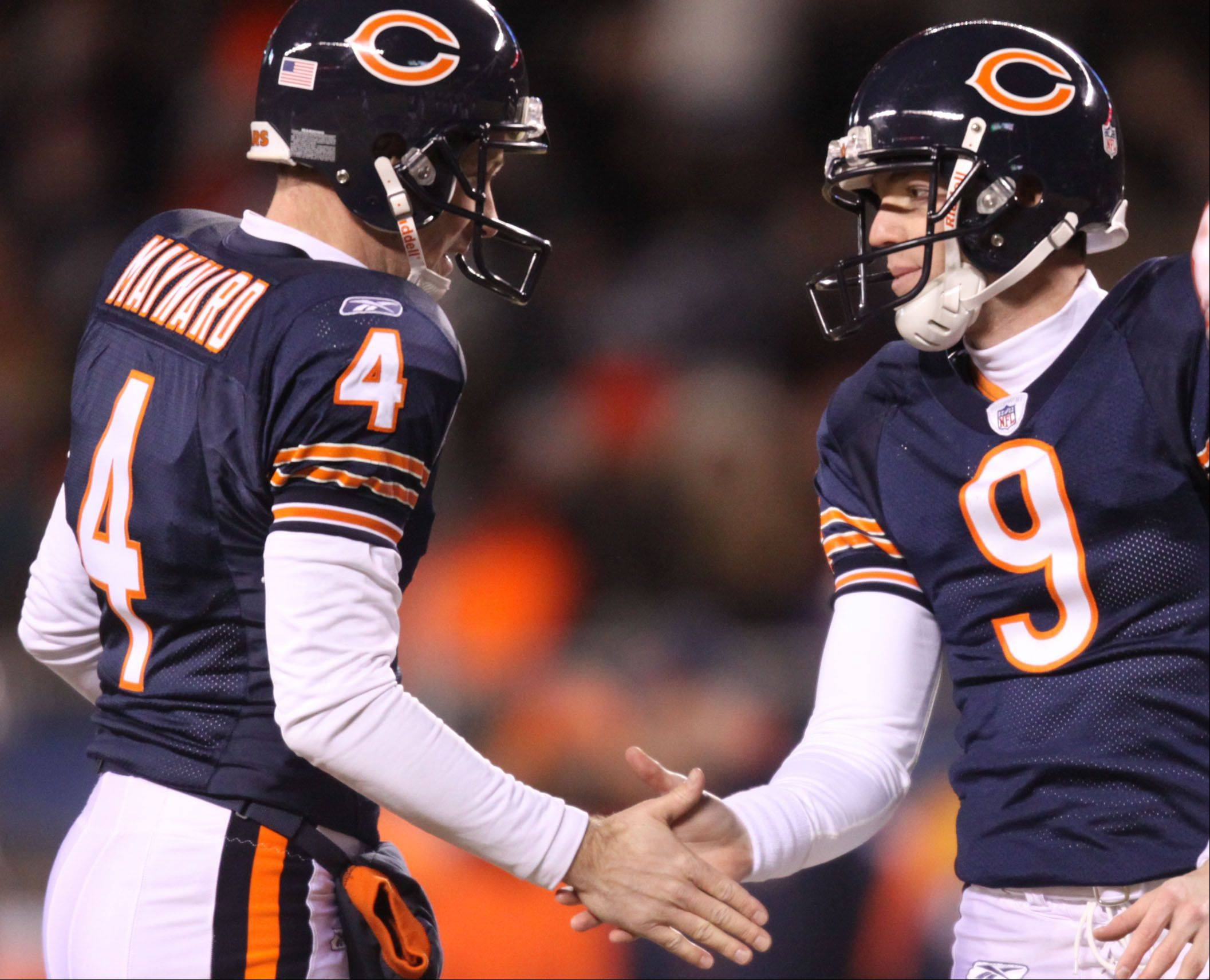 Brad Maynard and Robbie Gould enjoyed a lot of success with the Bears on the field goal unit. Maynard, a holder and punter, will not be back with the Bears this season.