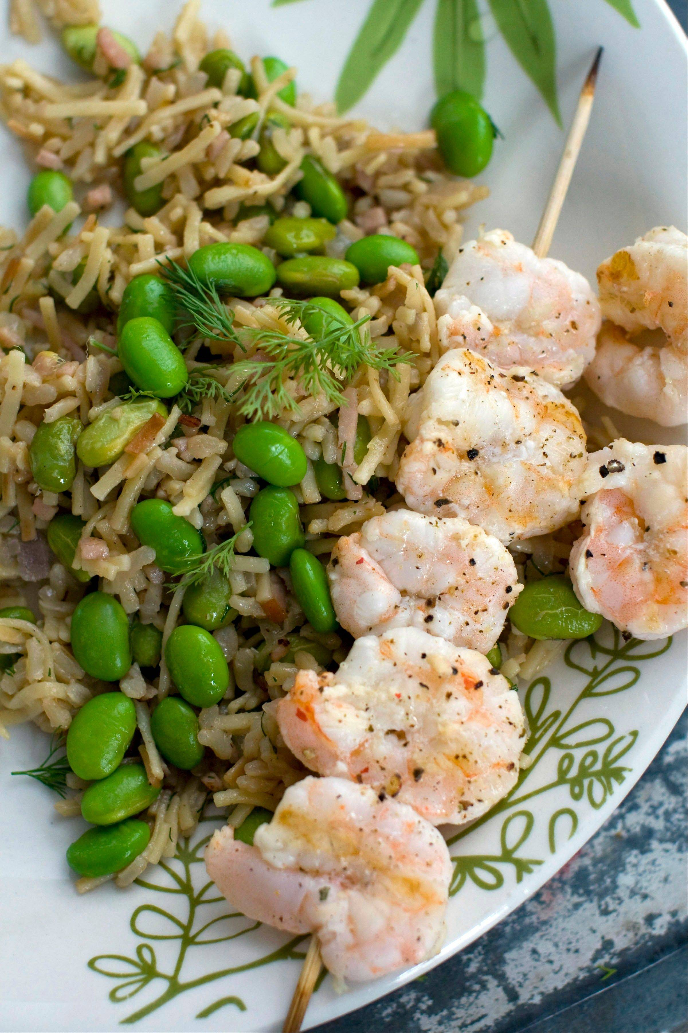 Rice and Noodle Pilaf with Edamame and Grilled Shrimp is a one-pot meal that can be on the table in around 35 minutes.