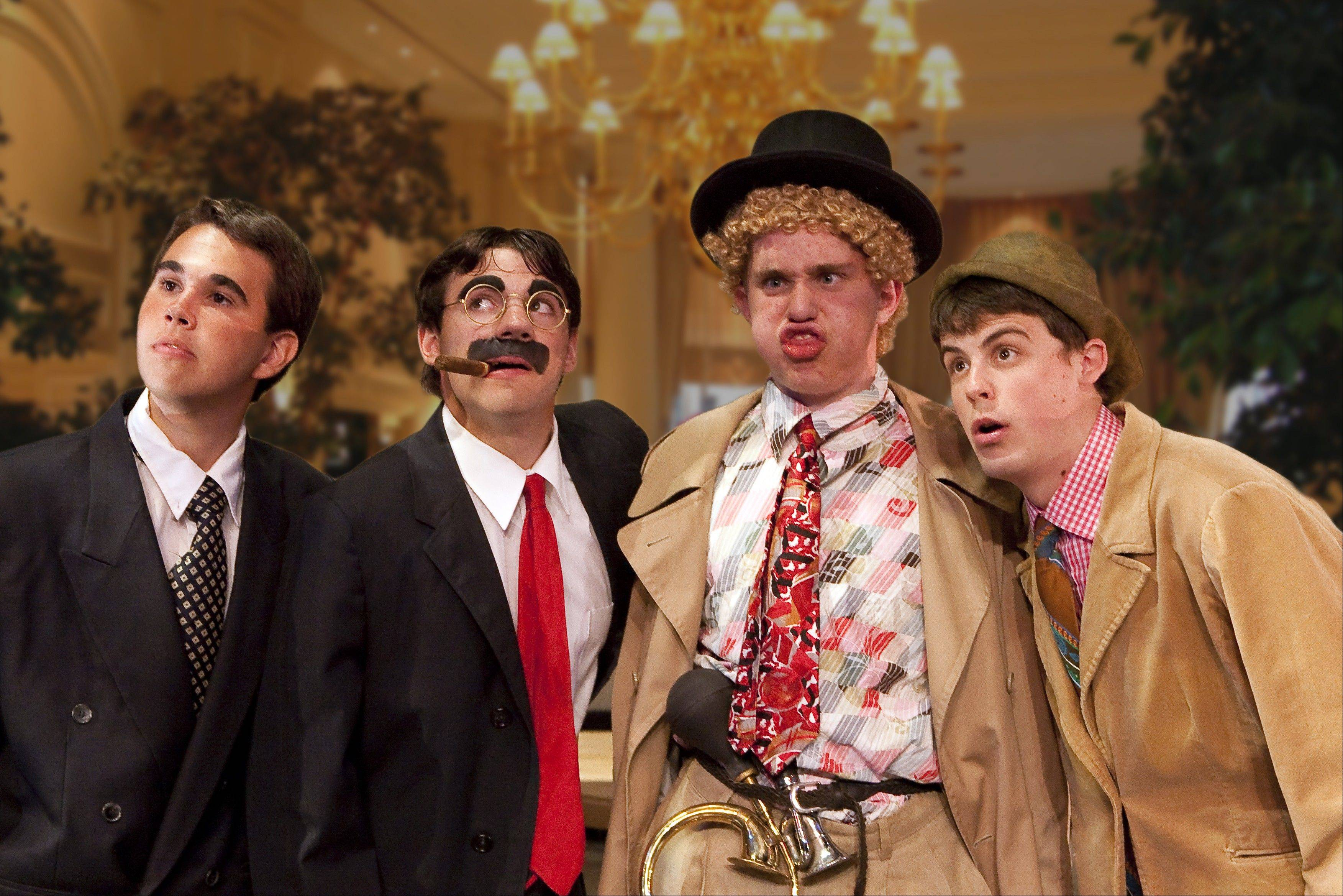 The four Marx Brothers are played by, from left, Jacob Storck, Jake Robertson, Jack Corkery and Carlos Kmet.
