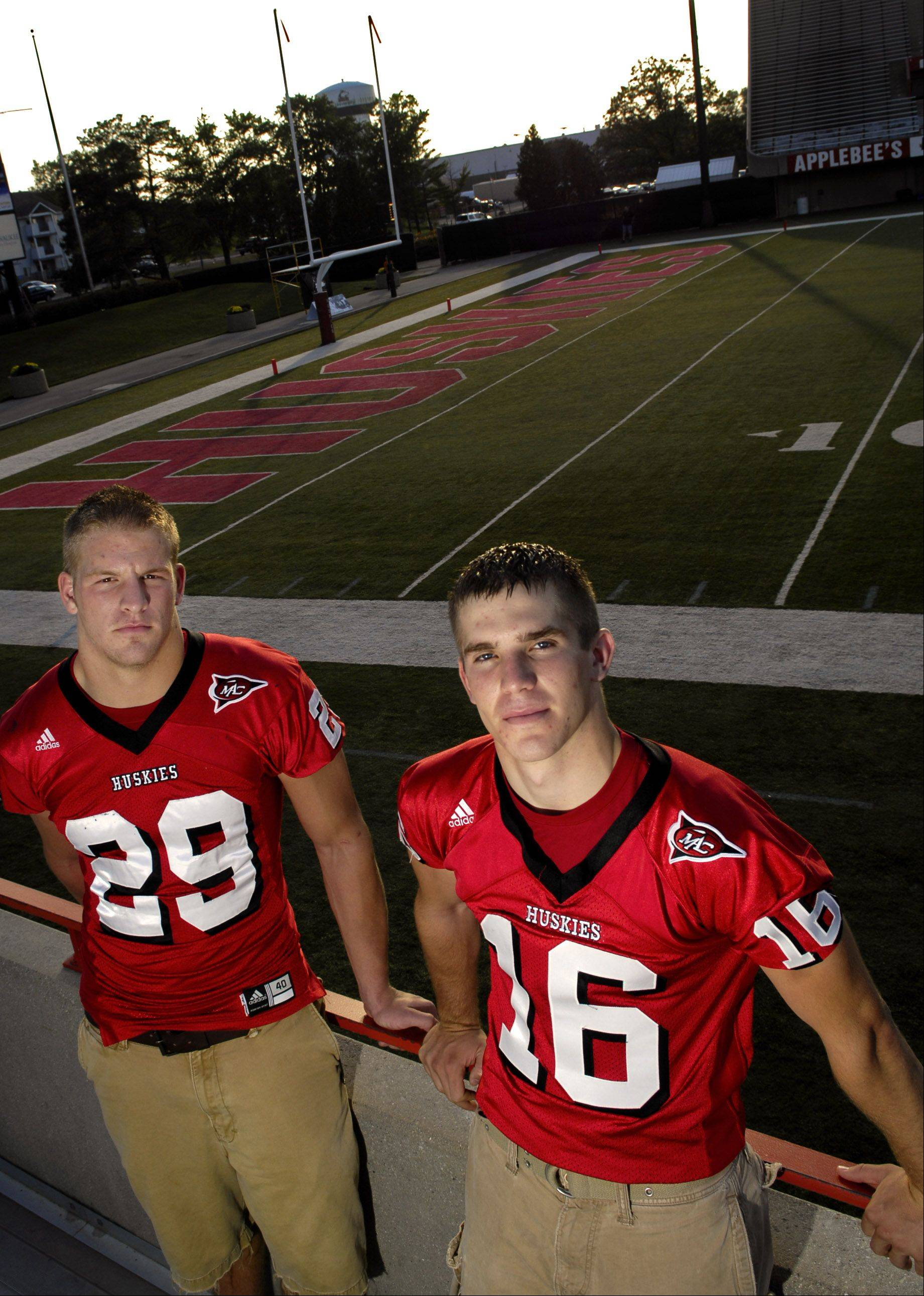 Geneva graduate Pat Schiller, left, and Boone Thorgesen of Kaneland are now teammates and roommates at Northern Illinois University in DeKalb.