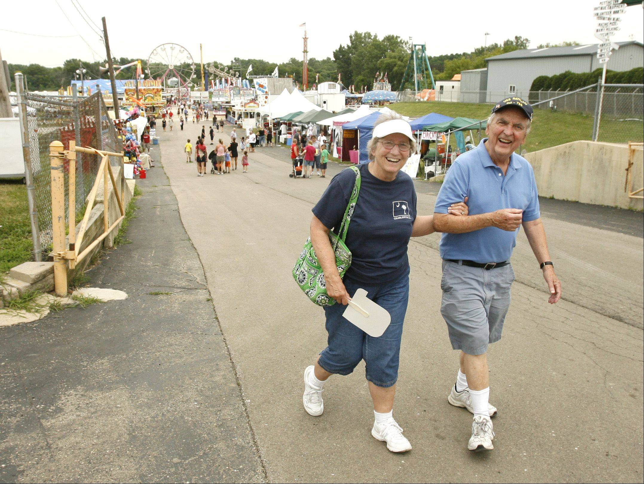 Mary and Marty Cosgrove of Winfield enjoy the first day of the DuPage County Fair.