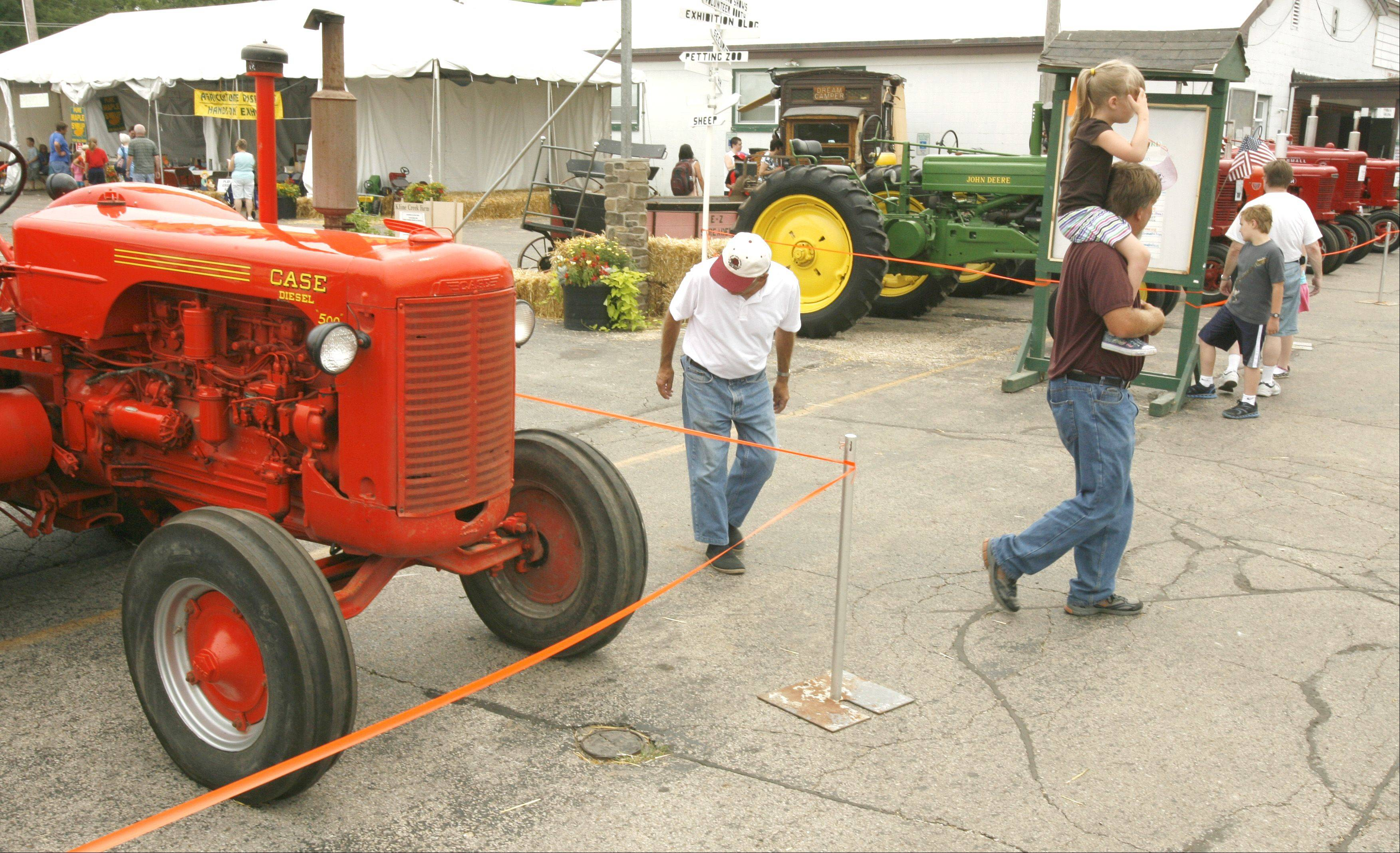 Antique farm machinery, on display as part of the DuPage County Fair.