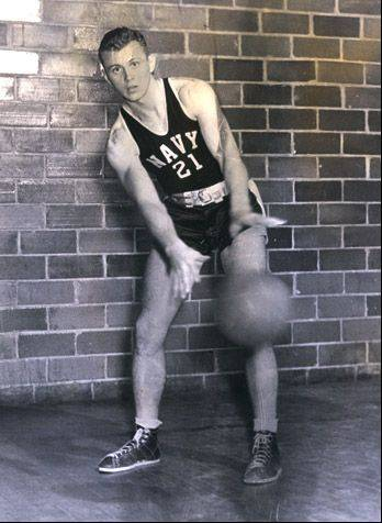 BIll Thompson, who served as a Navy pilot during World War II, is shown in a basketball uniform during his service days.
