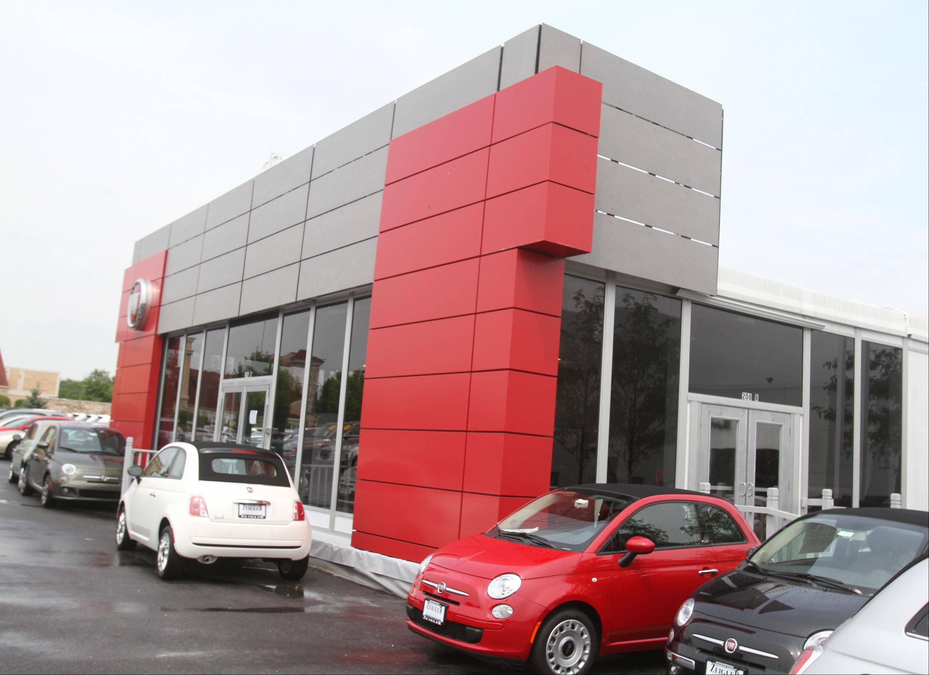 Zeigler Chrysler Dodge Jeep has opened a temporary Fiat showroom at its existing dealership on Golf Road in Schaumburg while it searches for a permanent location nearby.