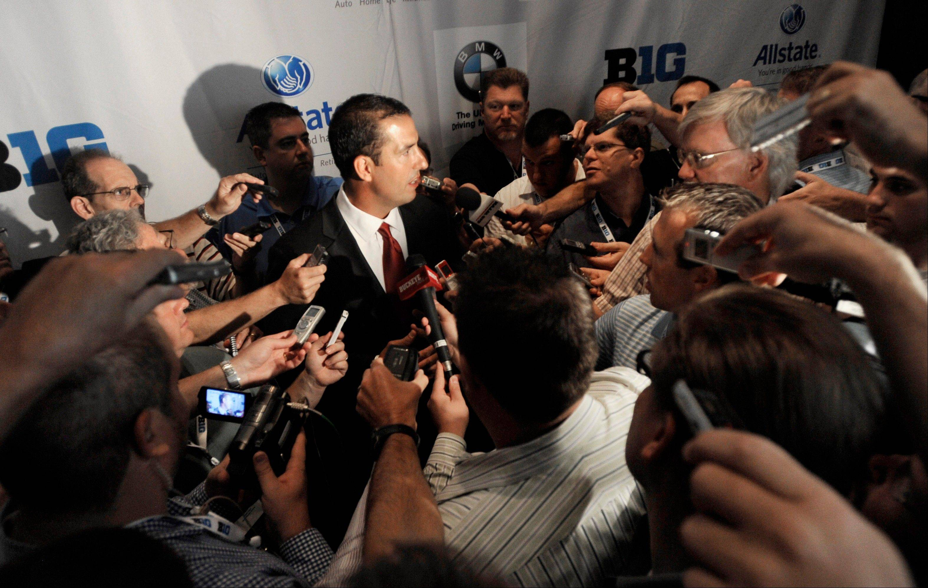Ohio State coach Luke Fickell talks to reporters during the Big Ten football media day on Thursday in Chicago.
