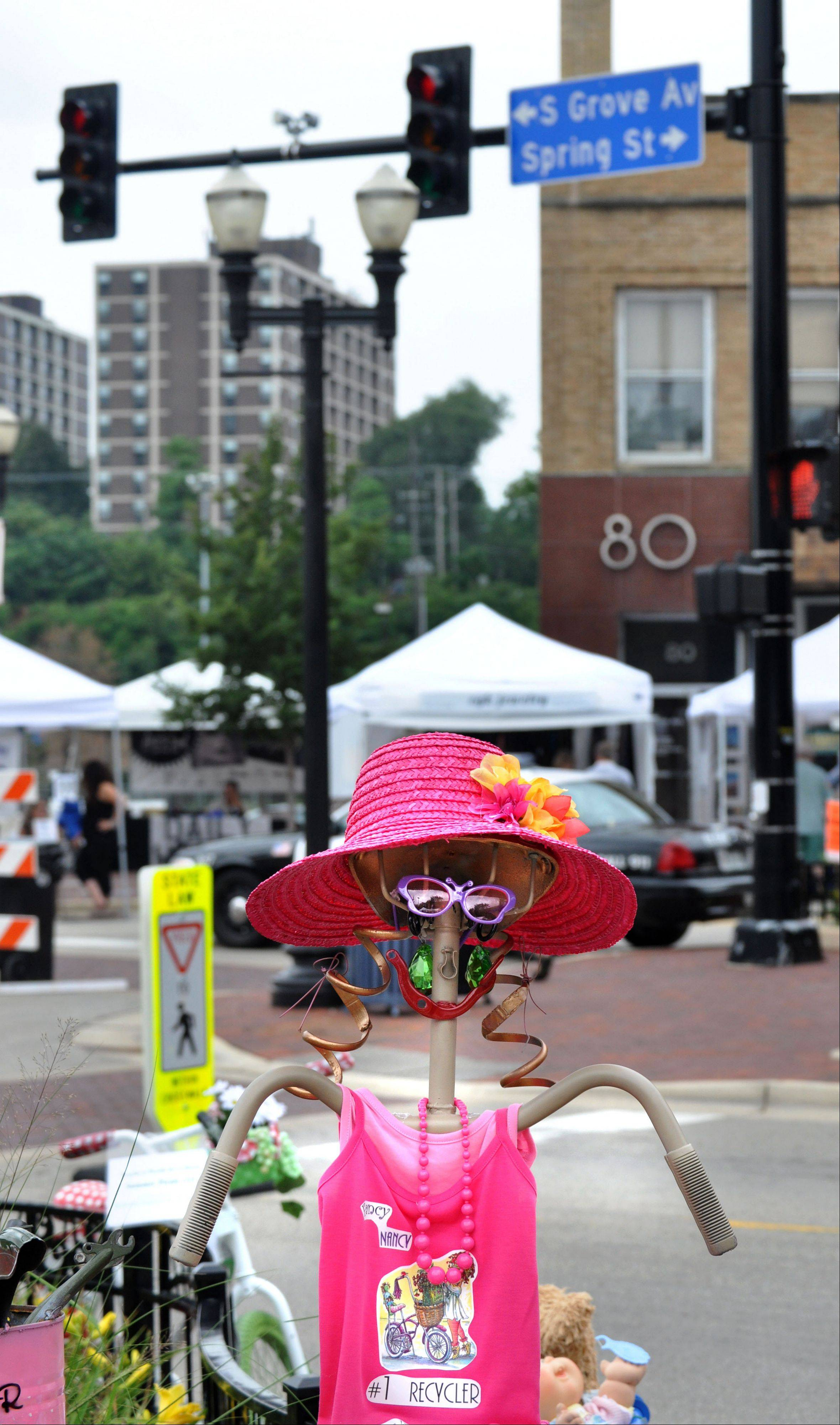 An art piece decorates South Grove Avenue at the second annual Art and Soul on the Fox festival in downtown Elgin last year.