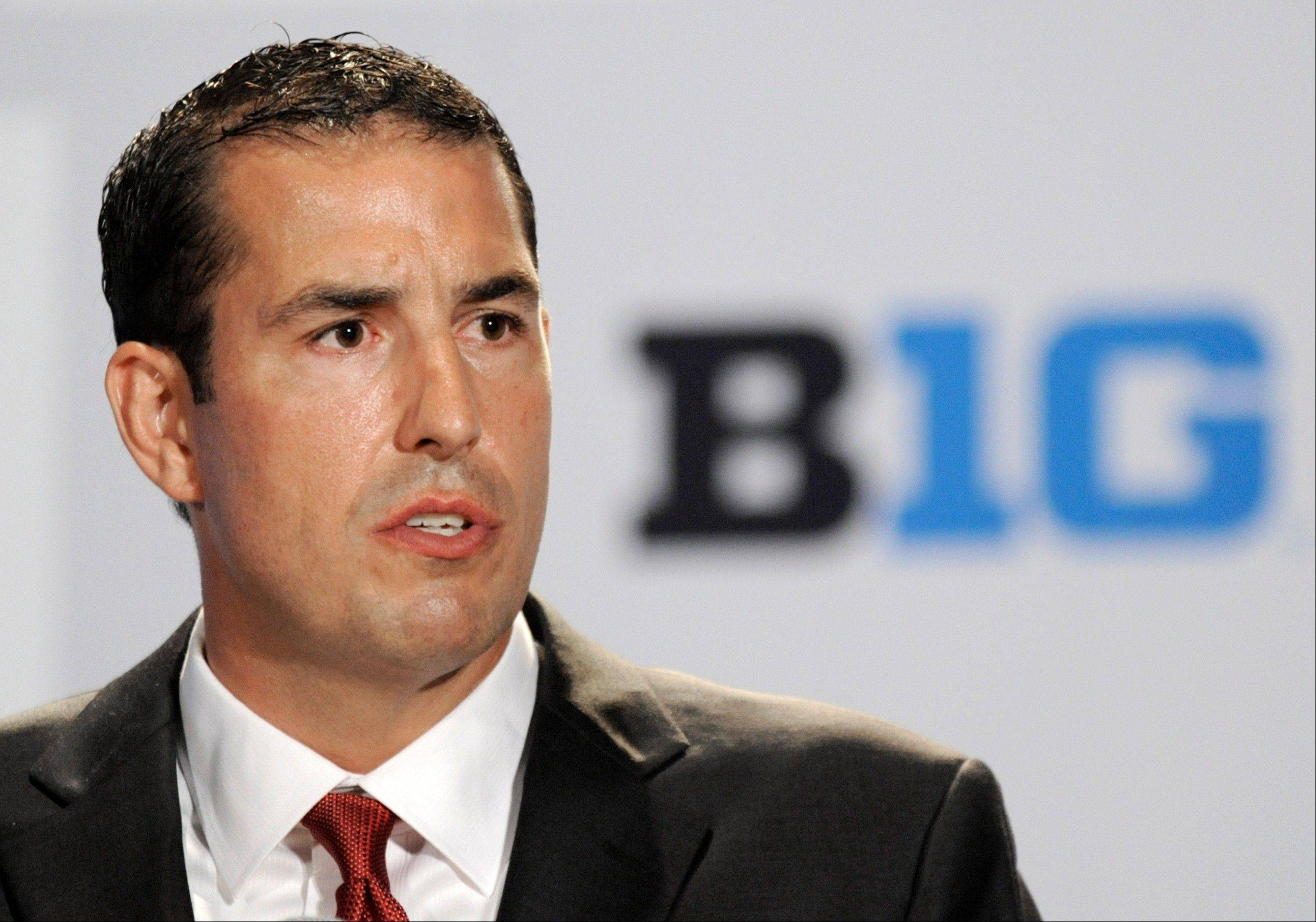 Ohio State head coach Luke Fickell talks to reporters during Big Ten football media day, Thursday, July 28, 2011, in Chicago. (AP Photo/Paul Beaty)