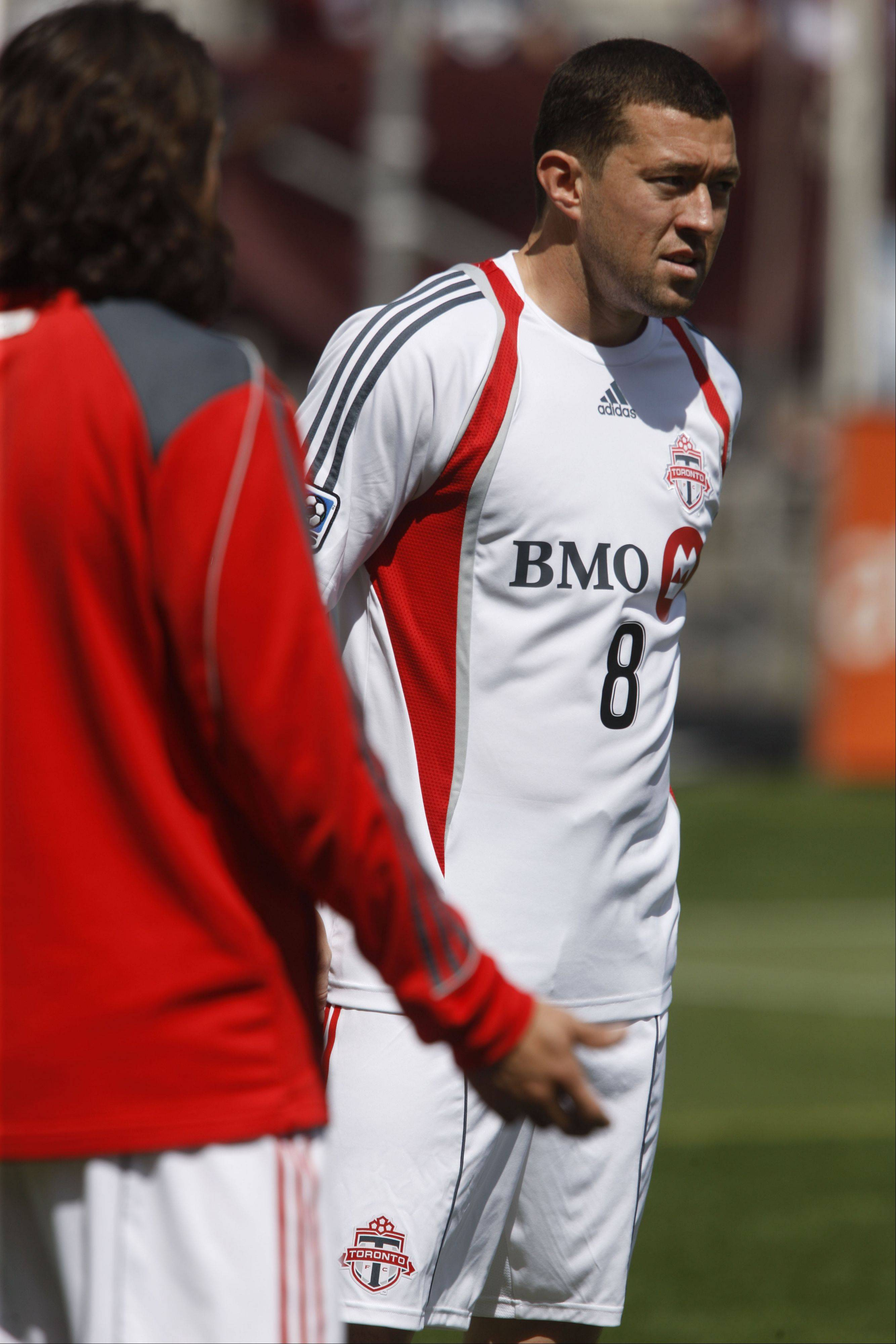 Toronto FC player Dan Gargan, right, is now a member of the Chicago Fire, which got Gargan and a draft pick in exchange for defender Dasan Robinson.
