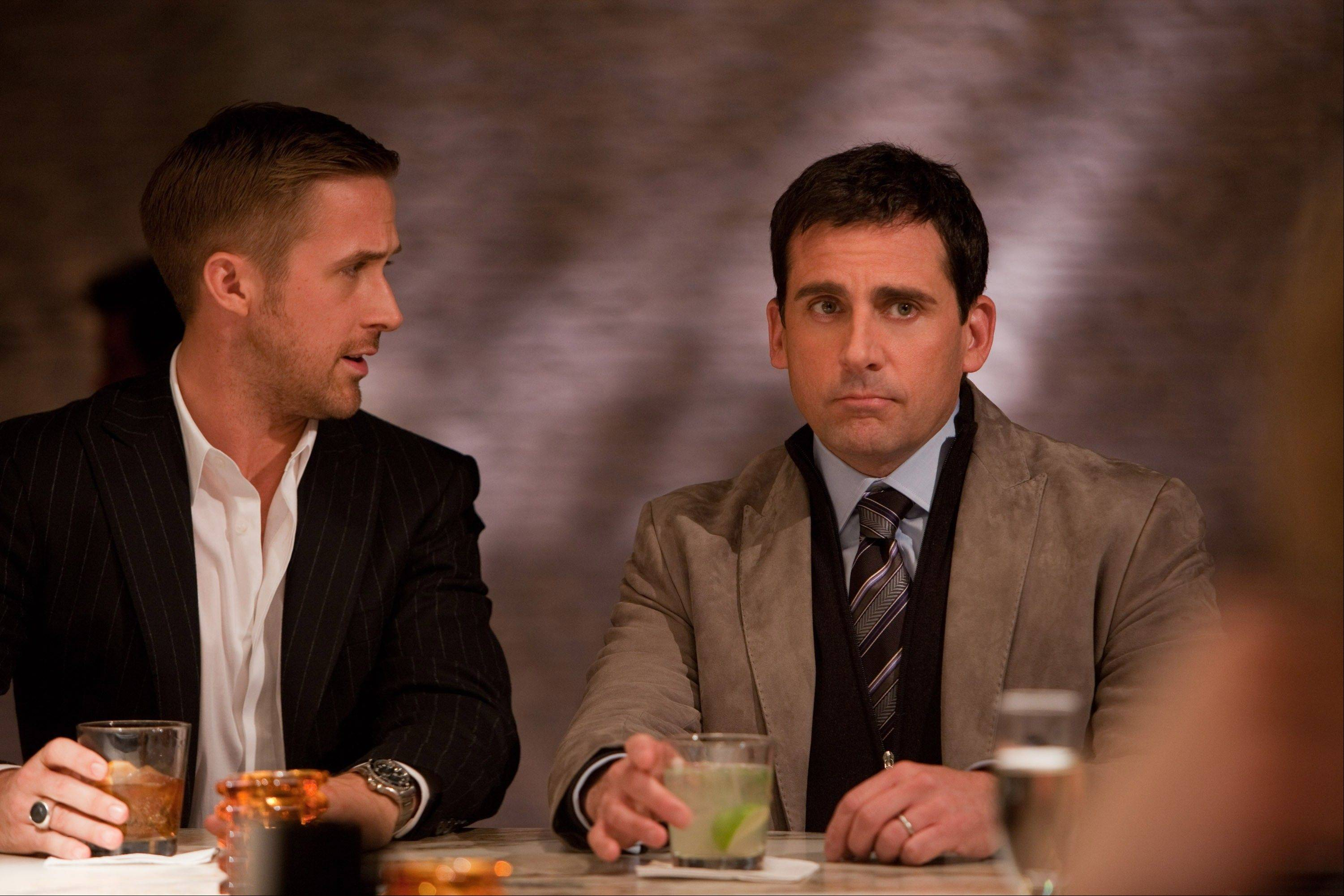 "Lady-killer Jacob (Ryan Gosling), left, gives dating advice to a nerdy separated family man (Steve Carell) in the smart and funny comedy ""Crazy, Stupid, Love."""