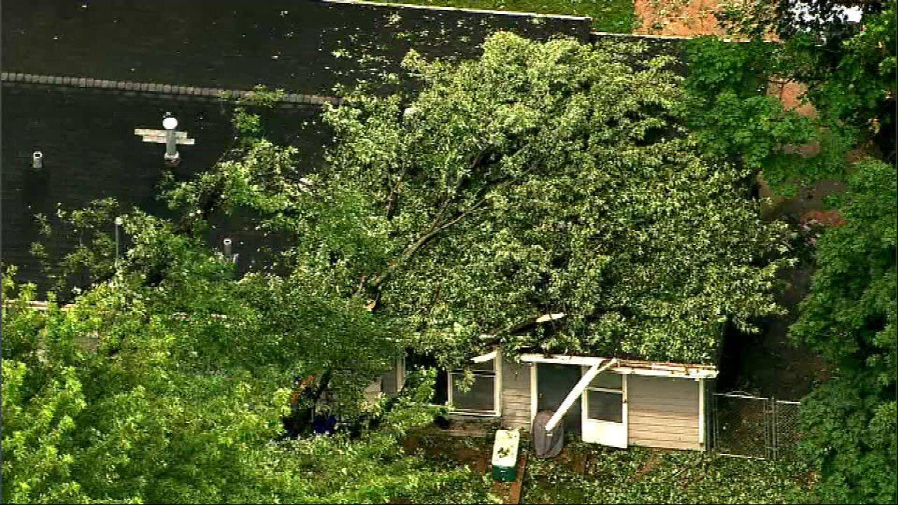 COURTESY ABC7Crews worked on Thursday to clean up storm damage in Carol Stream.