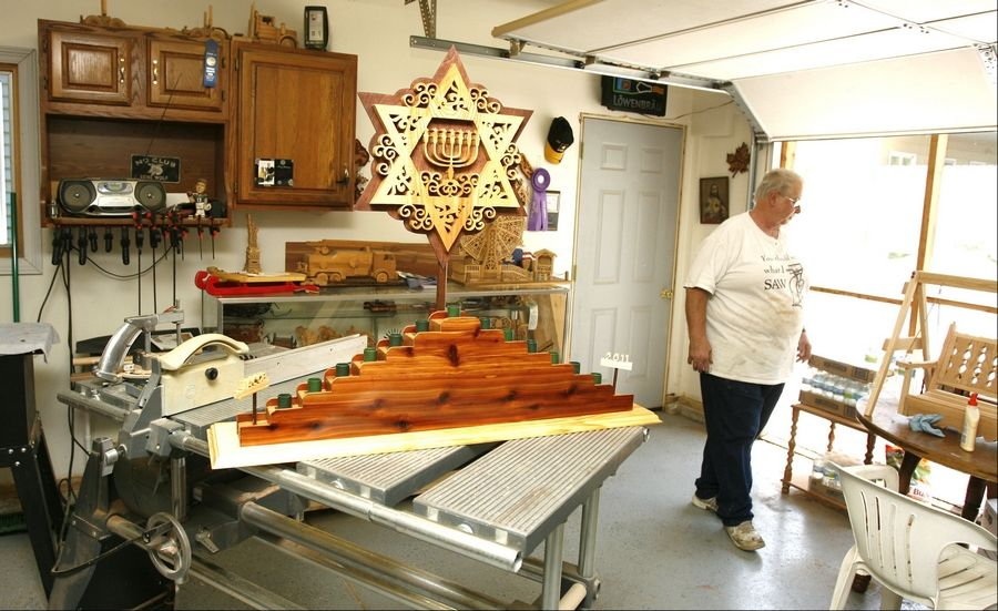 James Barry submits between 15 and 20 entries in the adult woodworking class of the Home Economic portion of the DuPage County Fair. His handmade Menorah will be on display at this year's fair.