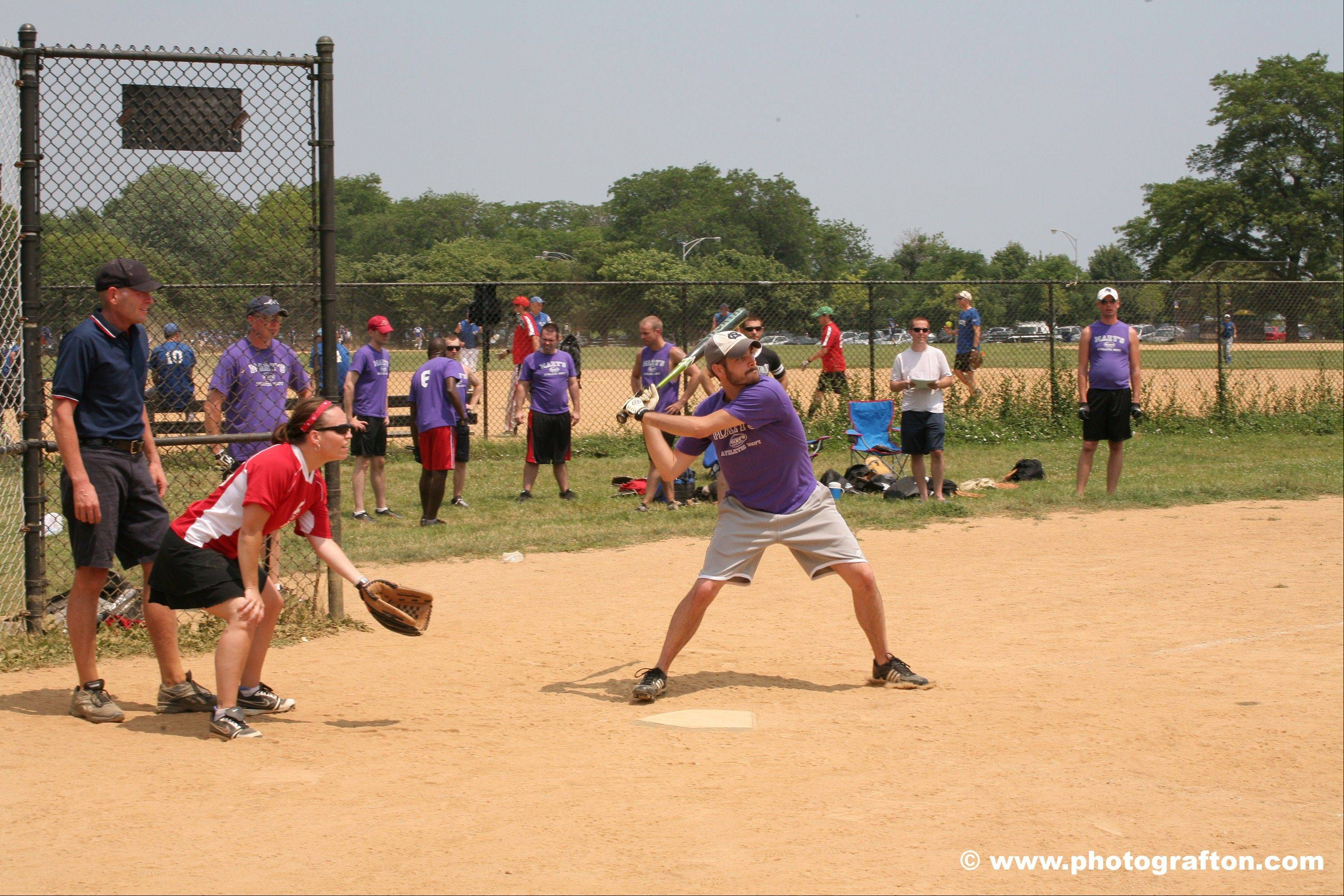 A  2011 Chicago Metropolitan Sports Association softball game played at Margate Park in Chicago. Seven area teams have advanced to the World Series.