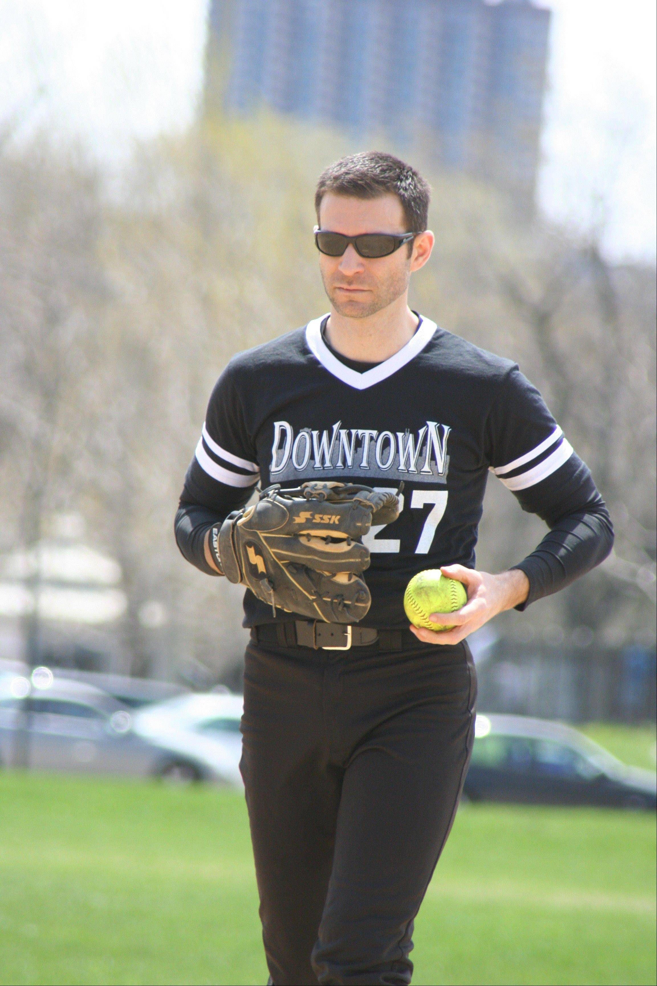 Aaron Brost, formerly of Naperville, pitches for the Downtown Bar & Lounge team in the CMSA B-Division.
