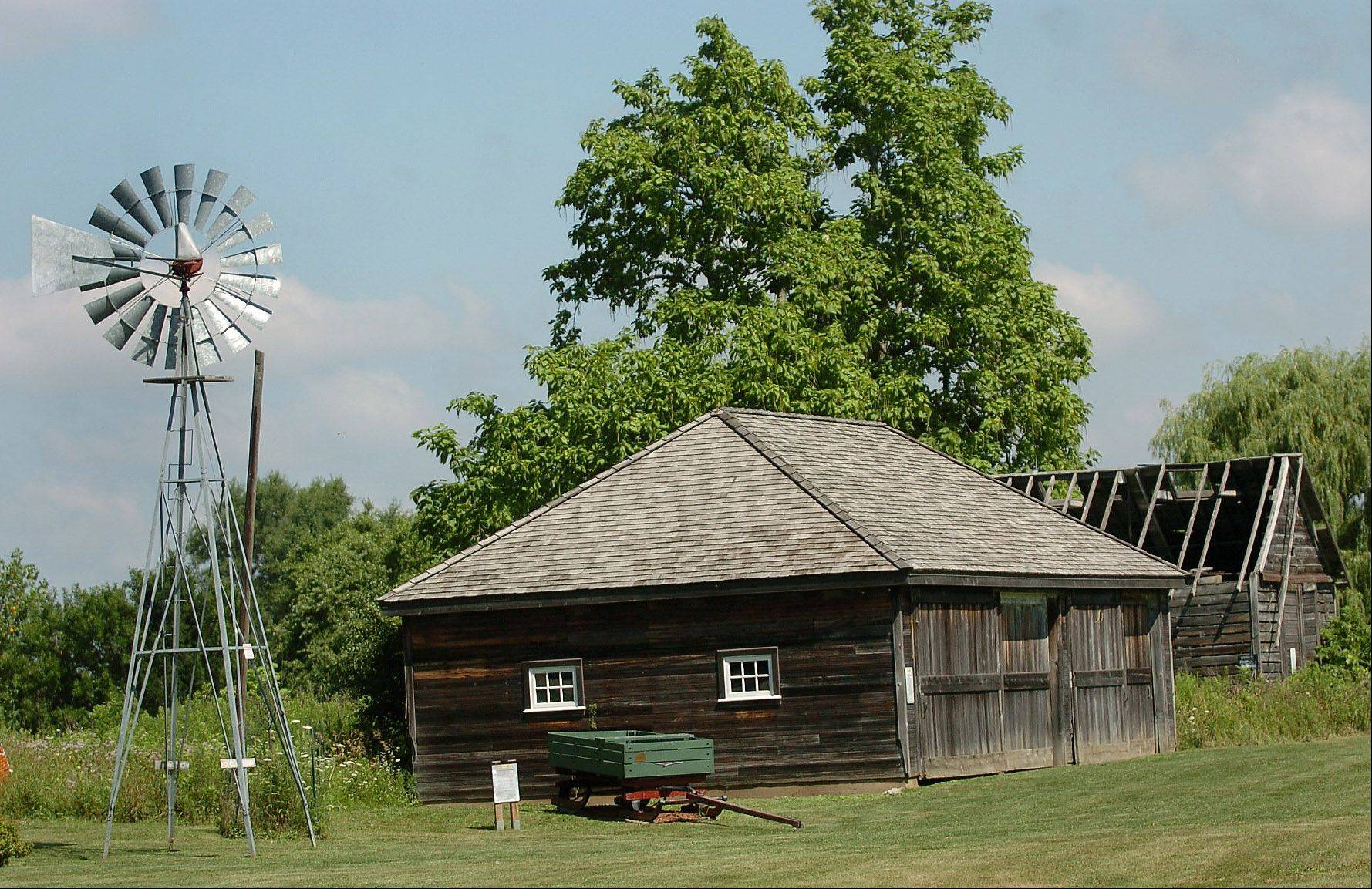 Vehe Farm, now used as an educational and community center, features a number of old structures, including a machine shed and windmill.