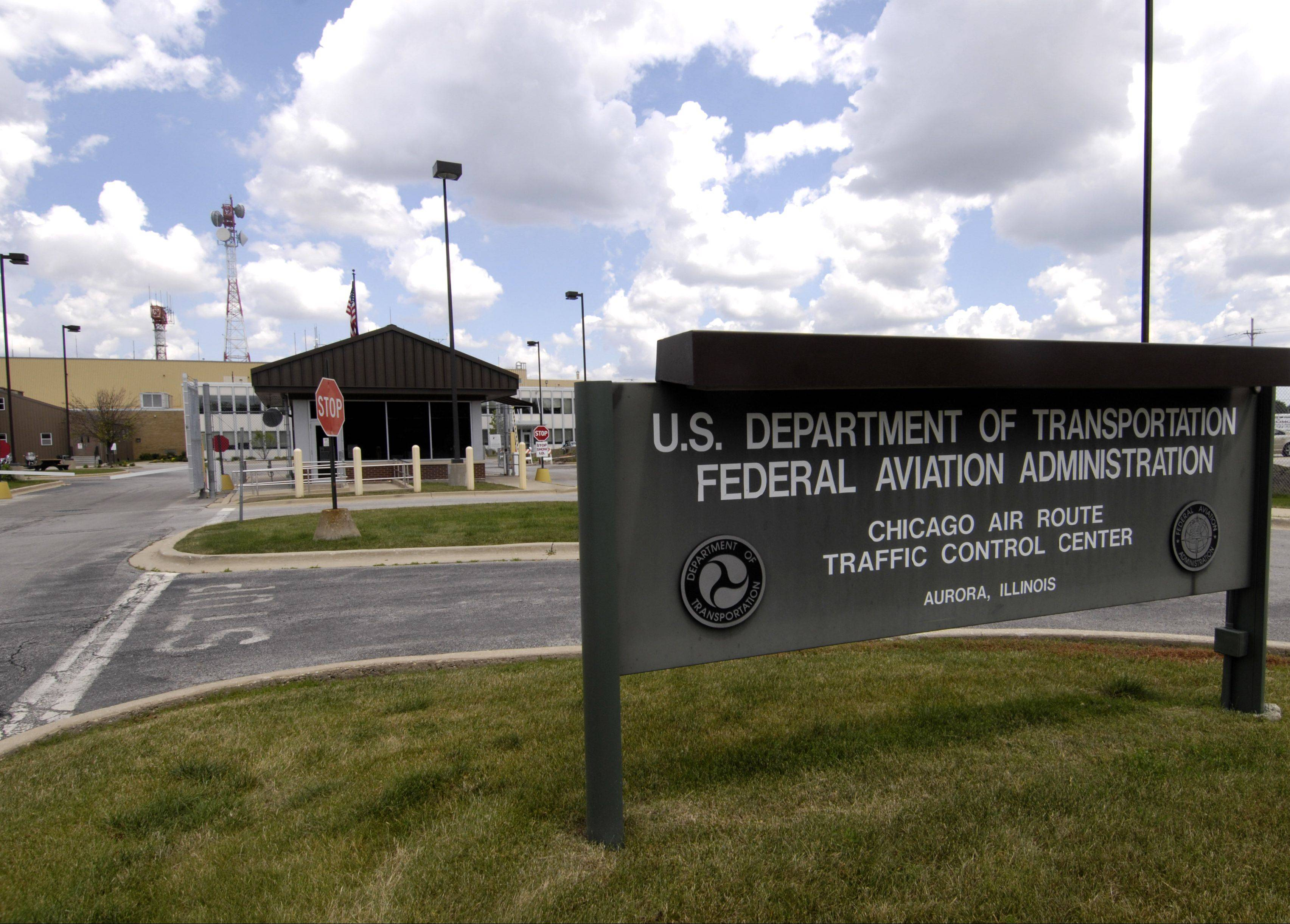 The unassuming, yet highly secure U.S. Department of Transportation's FAA Chicago Air Route Traffic Control Center in Aurora.