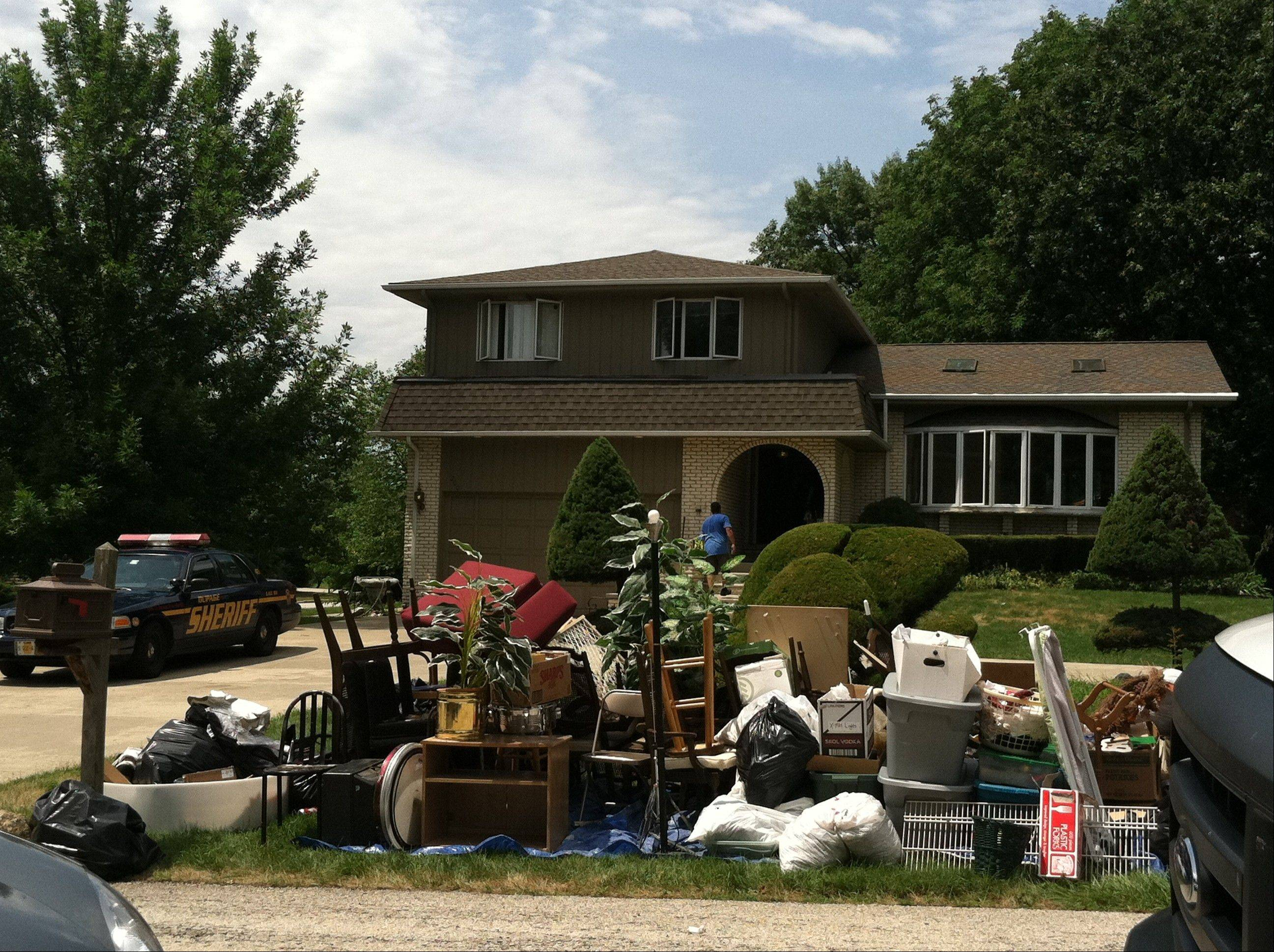 DuPage County Sheriff's deputies arrested five people who were protesting the eviction of the owners of this house in Addison.