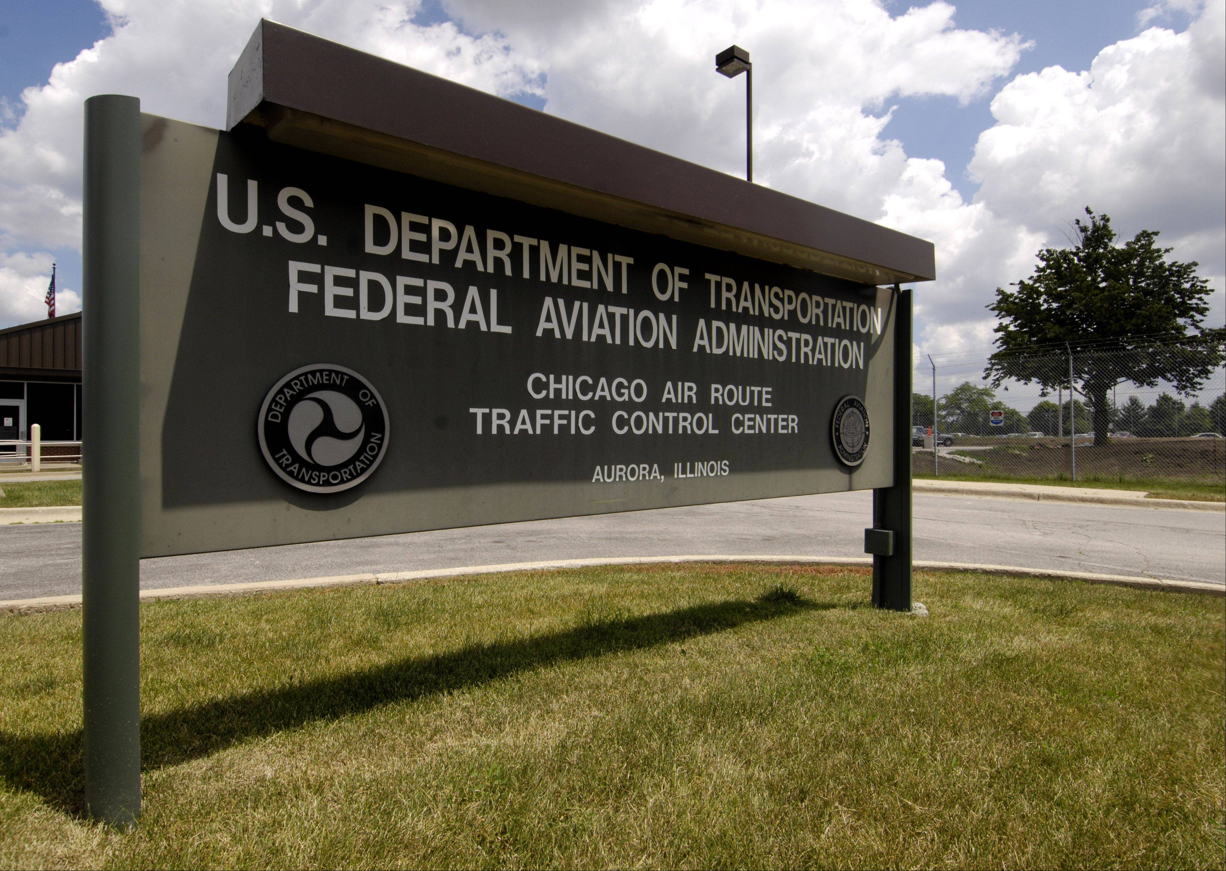 The entrance sign to the U.S. Department of Transportation's FAA Chicago Air Route Traffic Control Center in Aurora.