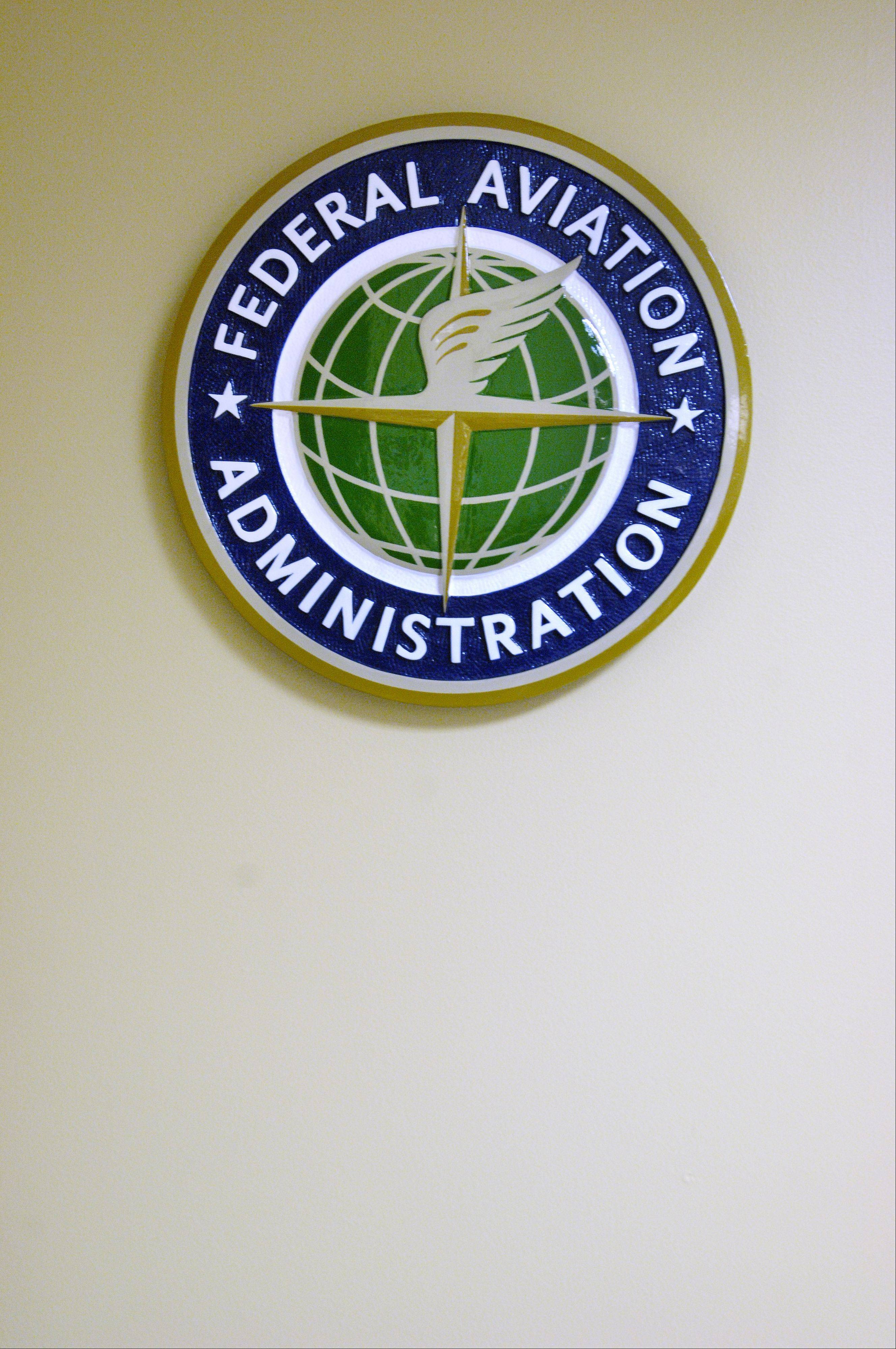 The Federal Aviation Administration emblem in the entryway of the Aurora Chicago Air Route Traffic Control Center.
