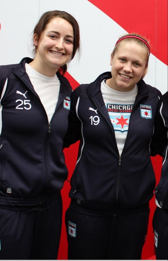 Jackie Santacaterina, left, of Geneva, and Naperville native Michele Weissenhofer are hoping to lead the Chicago Red Stars into the championship game of the WPSL tournament this weekend in Lisle.