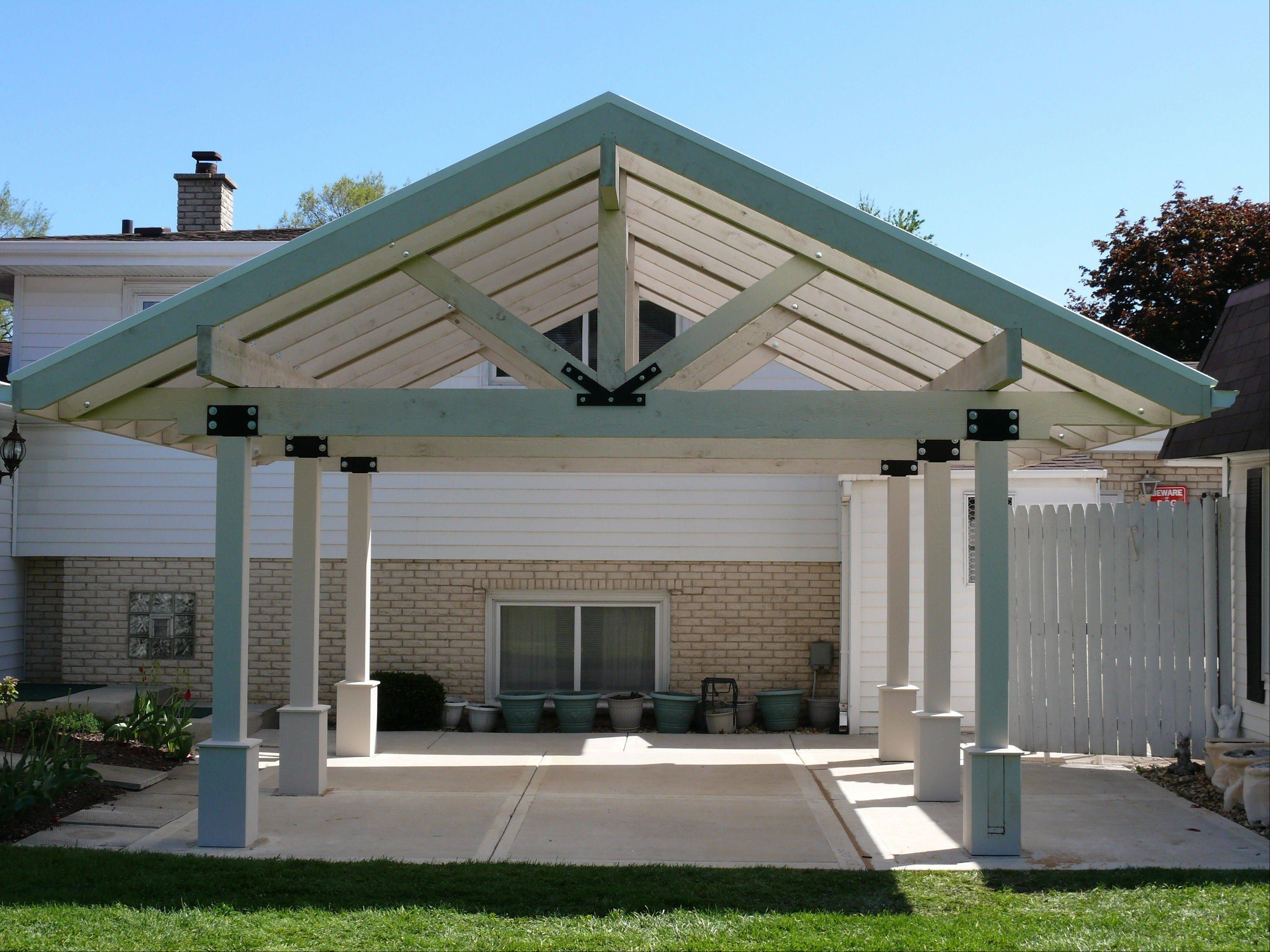 Timberbuilt also sells pergolas with a polycarbonate roof that provides some shading and protection from the rain.