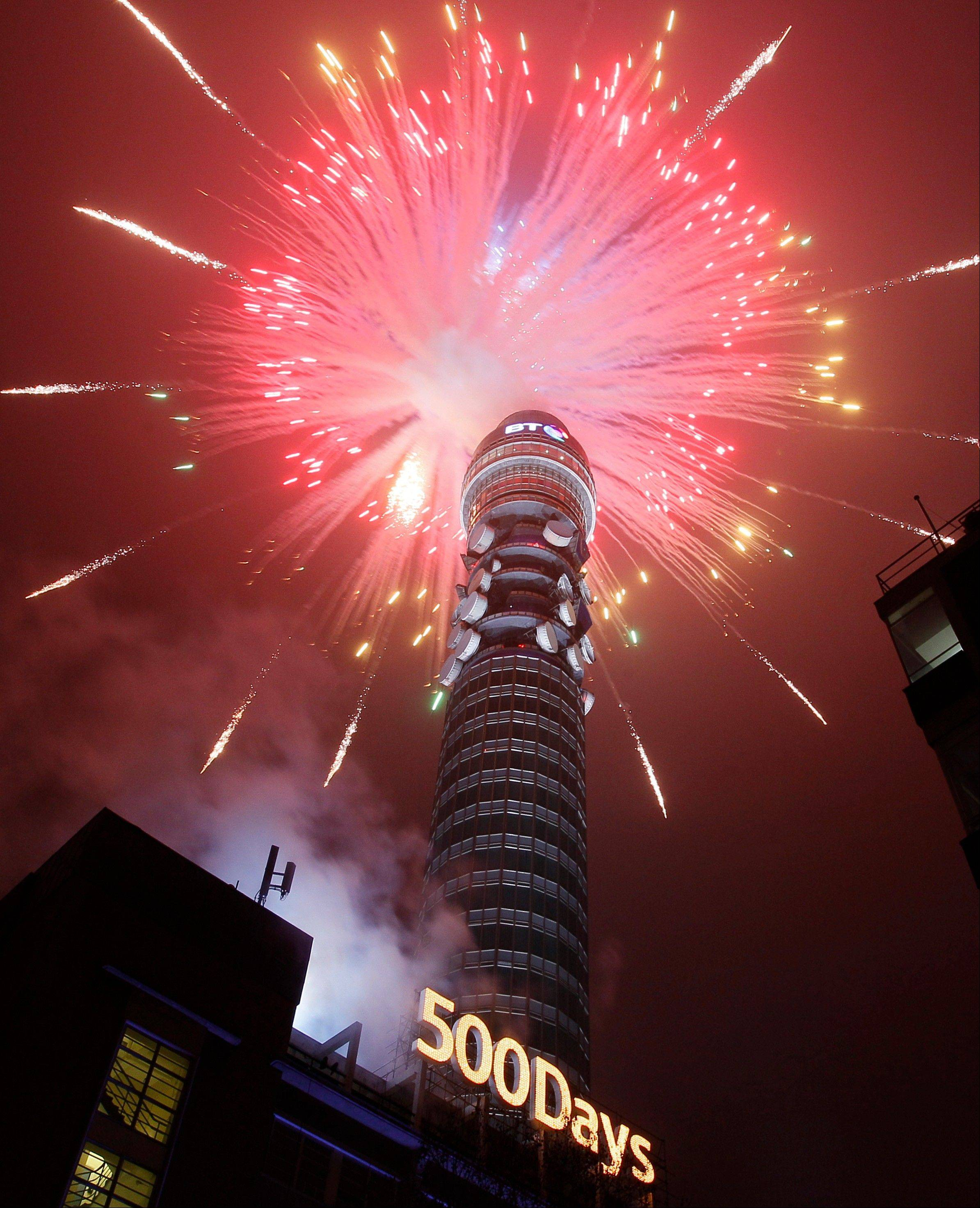 Fireworks light up the BT telecom tower in central London during a 500-days-to-go celebration until the start of the 2012 Olympic Games.