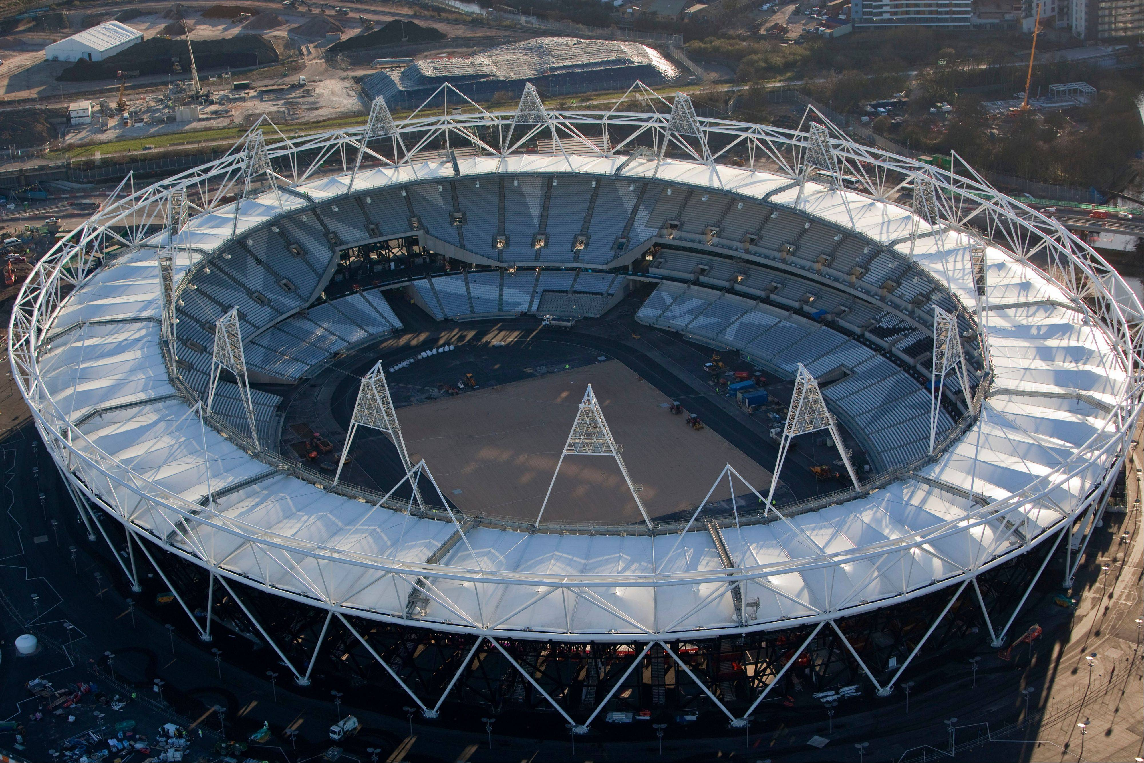 An aerial view of the new Olympic Stadium in London, England.