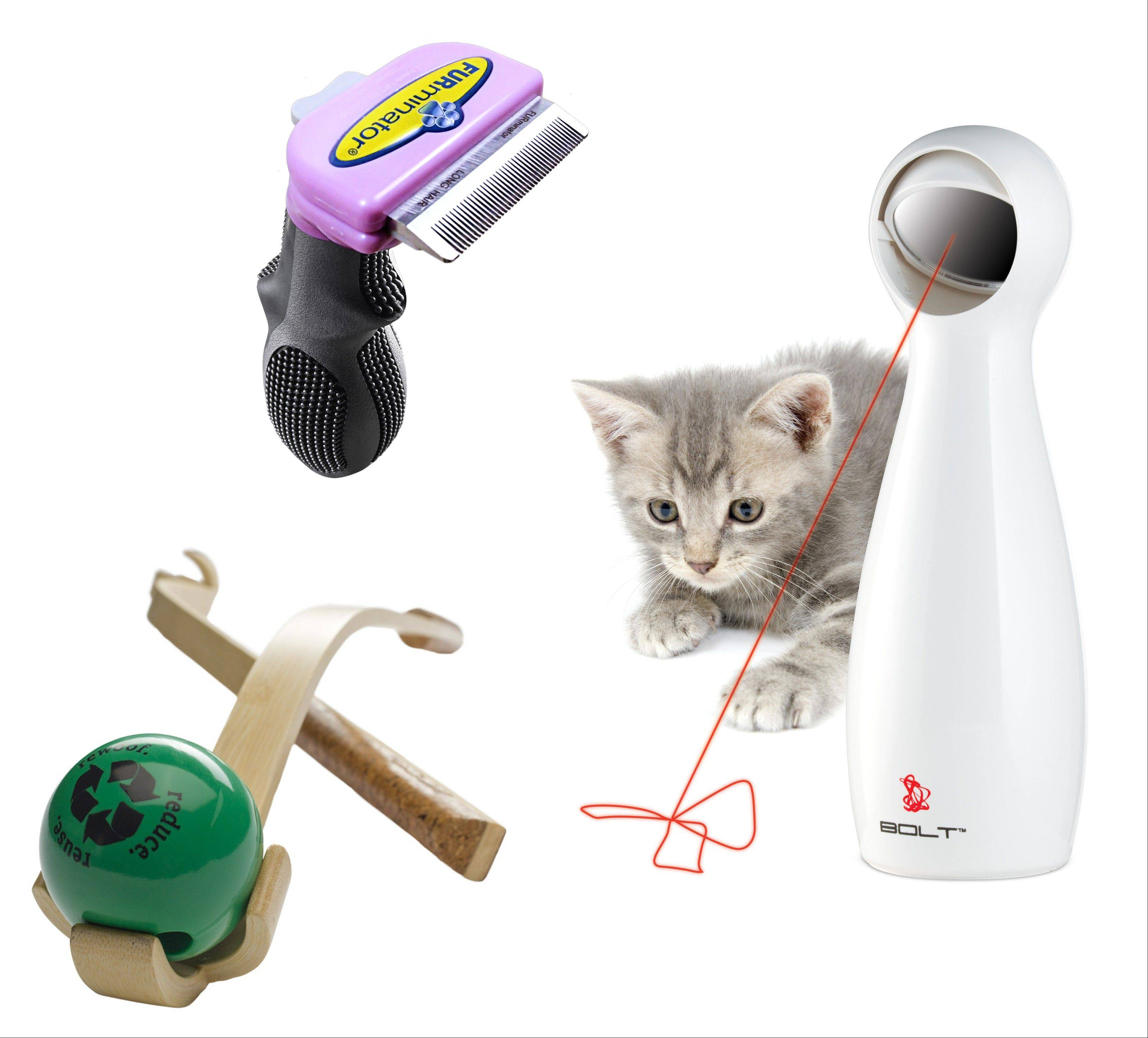 New pet products: Planet Dog's Wood Chuck ($25) has a comfy cork handle and four-pronged claw for easy, slobber-free pickup. The FURminator ($40) cat-grooming tool controls shedding and prevents hairballs; and the FroliCat Bolt laser toy ($20) engages even the most independent kitty.