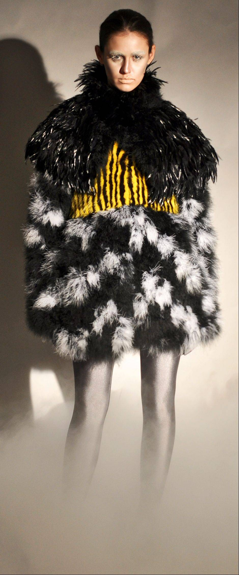 A black white and yellow fur coat, part of Adrienne Landau's fall 2011 collection.