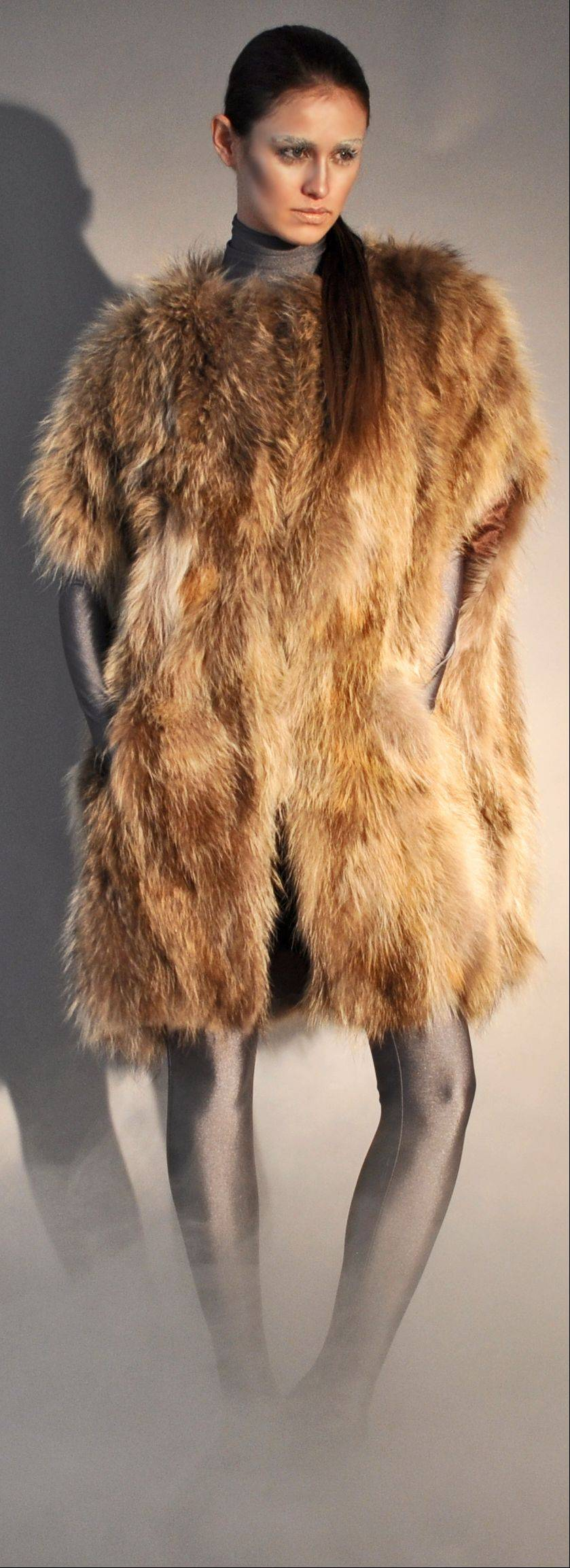 A raccoon fur �kimono vest, part of Adrienne Landau's fall 2011 collection.
