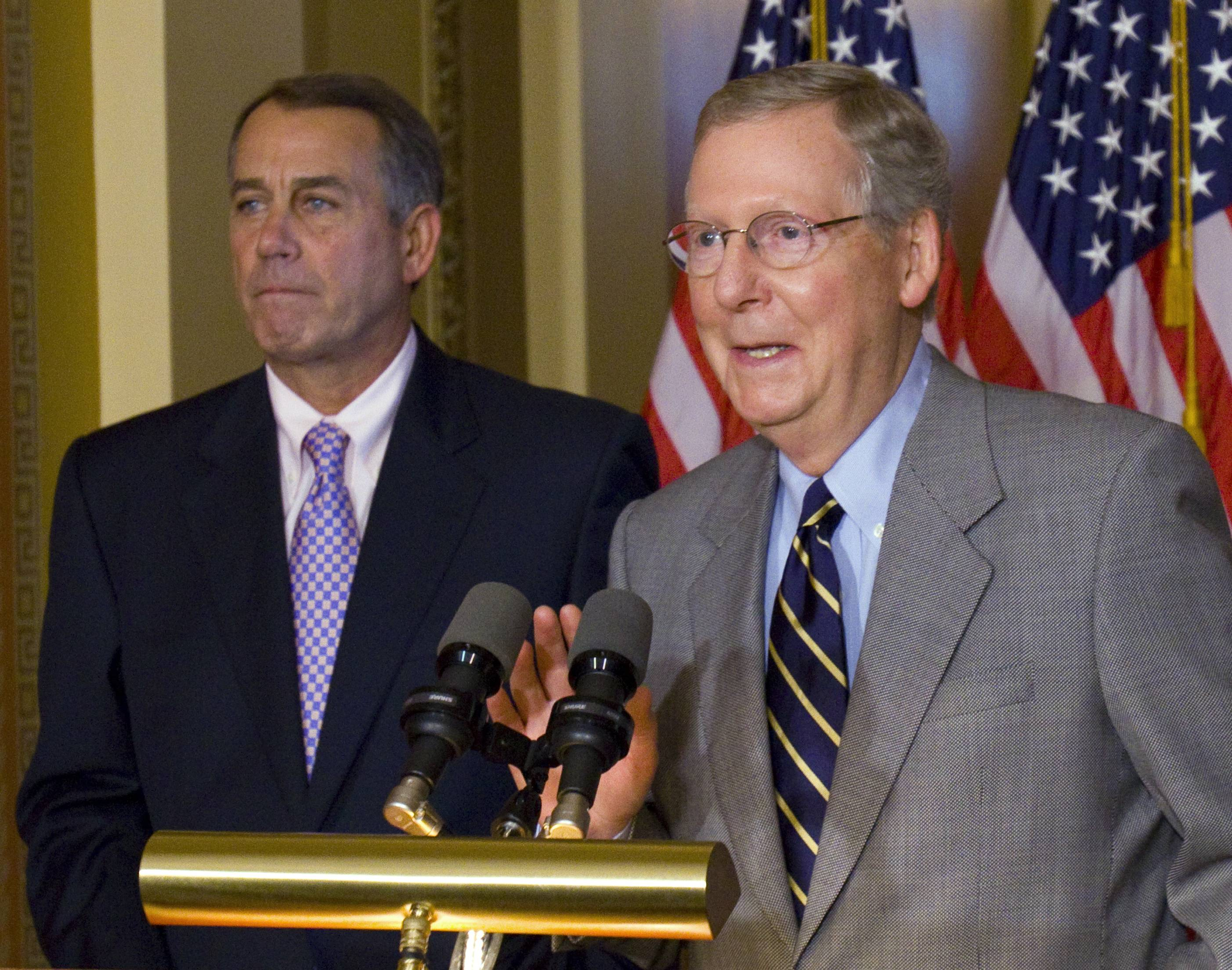 GOP congressional leaders House Speaker John Boehner and Senate Minority Leader Mitch McConnell endorsed an greement with Democrats and the White House that would avert a federal financial default.