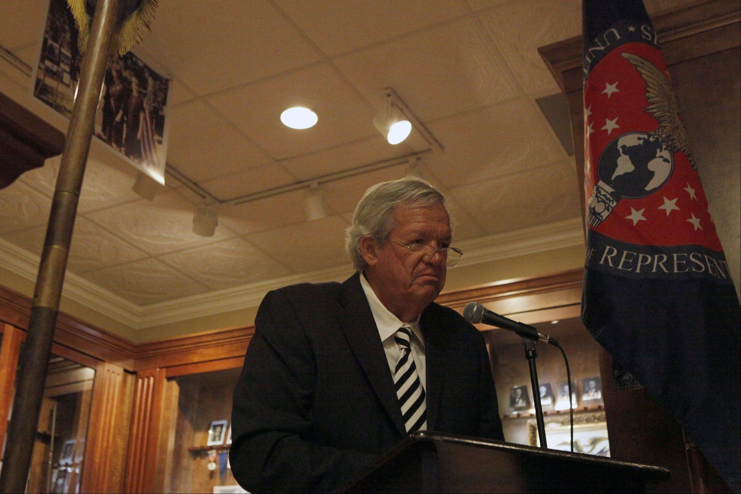 "Former U.S. speaker of the House Dennis Hastert spoke Sunday at the Wheaton Center for History to launch its new Civil War exhibit that focuses on local soldiers, ""War of the Rebellion: On and Off the Battlefield."""