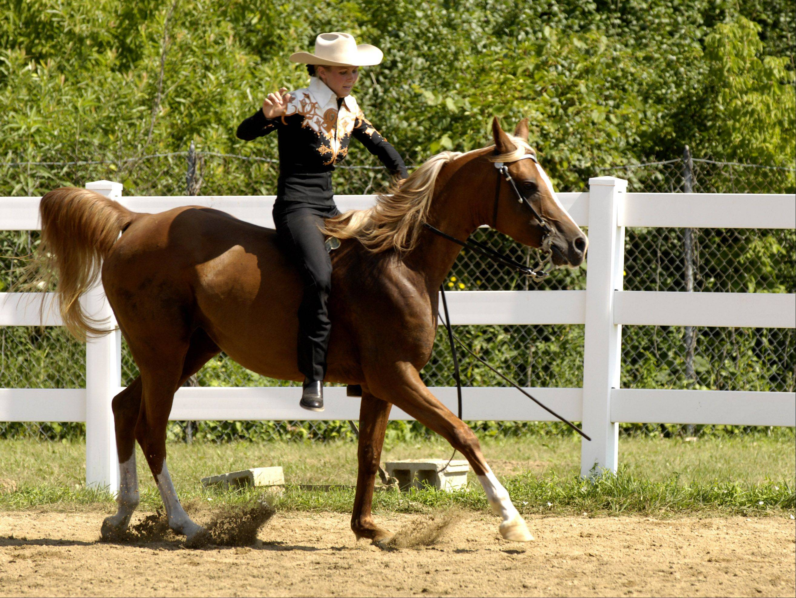 "Jessica Janis of Warrenville rides "" Tiffany"" during the ""Ride a Buck"" competition."