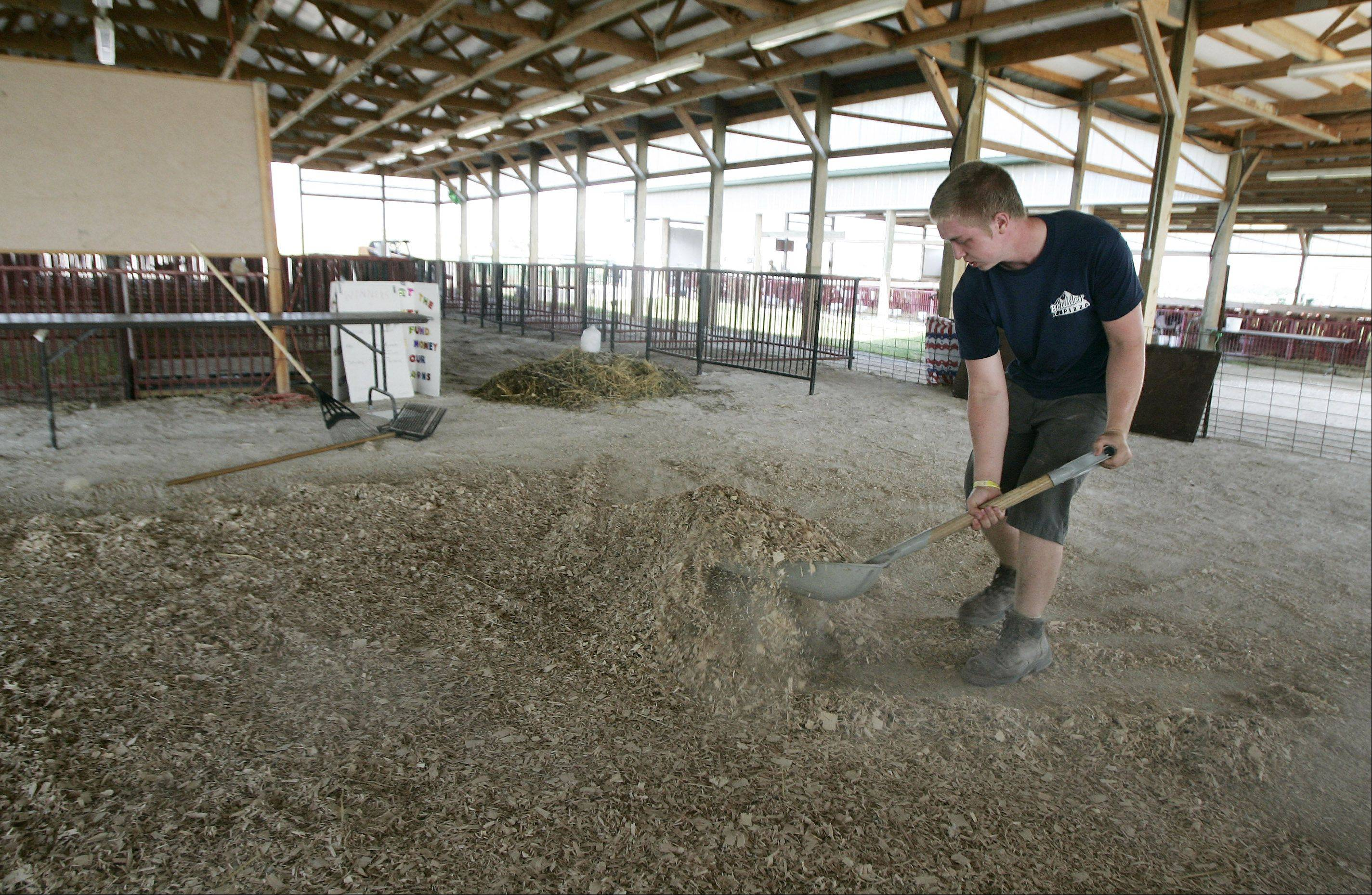 Clayton Larson, 17, of Grayslake cleans the barns Monday at the Lake County fairgrounds in Grayslake. Despite a drop in attendance for this year's fair, organizers said Monday they still have much to celebrate.