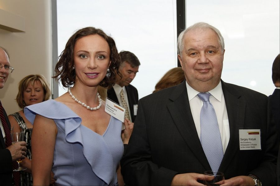 Aleksandra Efimova of Riverwoods and former Chicago Mayor Richard Daley pose at the Consular Corps Ball, hosted by Chicago Sister Cities International.