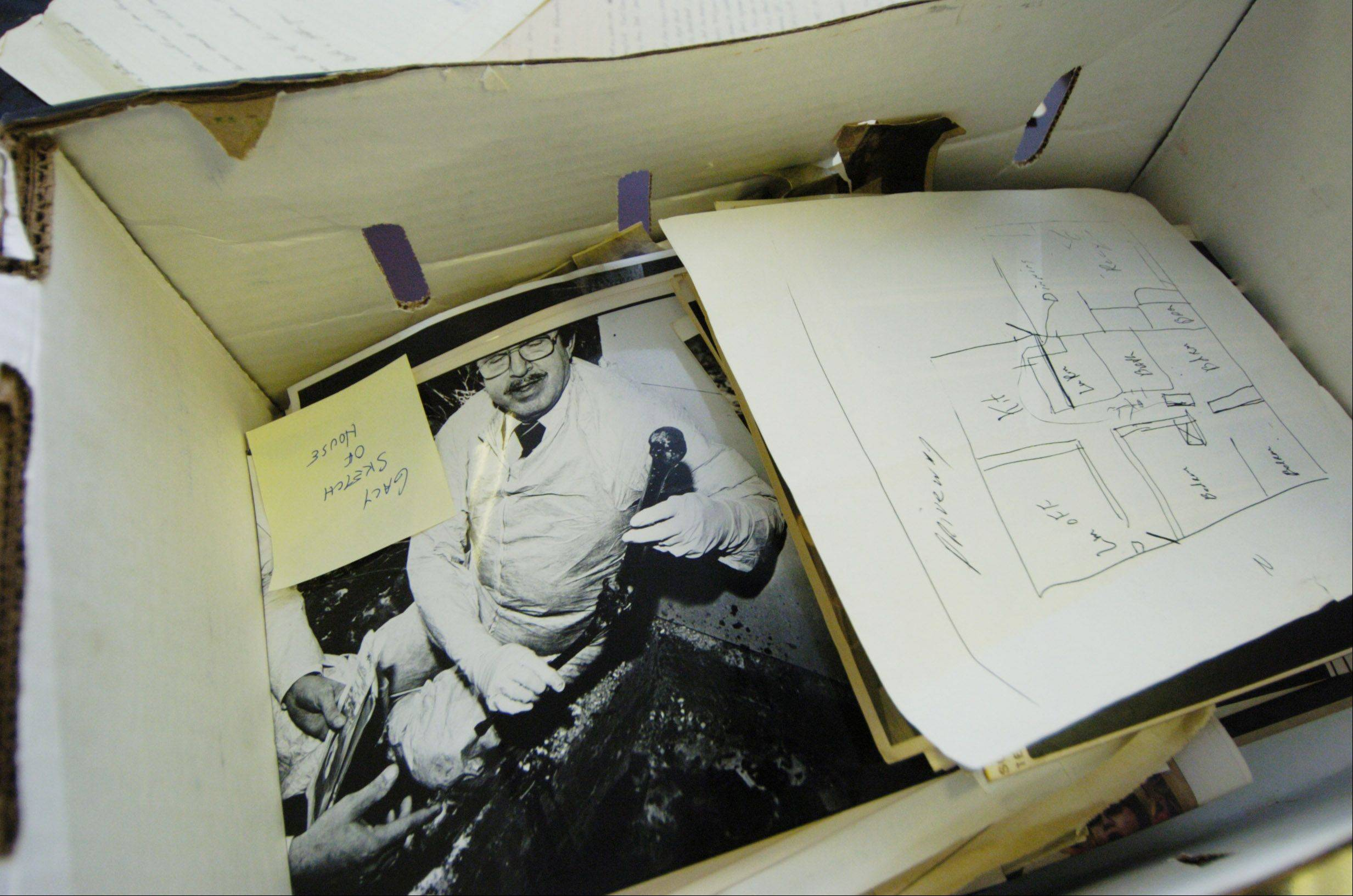 A legal box holds items from John Wayne Gacy's murder trial.