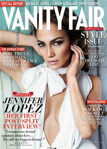 "Actress and singer Jennifer Lopez, on the cover of ""Vanity Fair"" magazine, says she still believes in love despite her split from her husband of seven years, Marc Anthony."