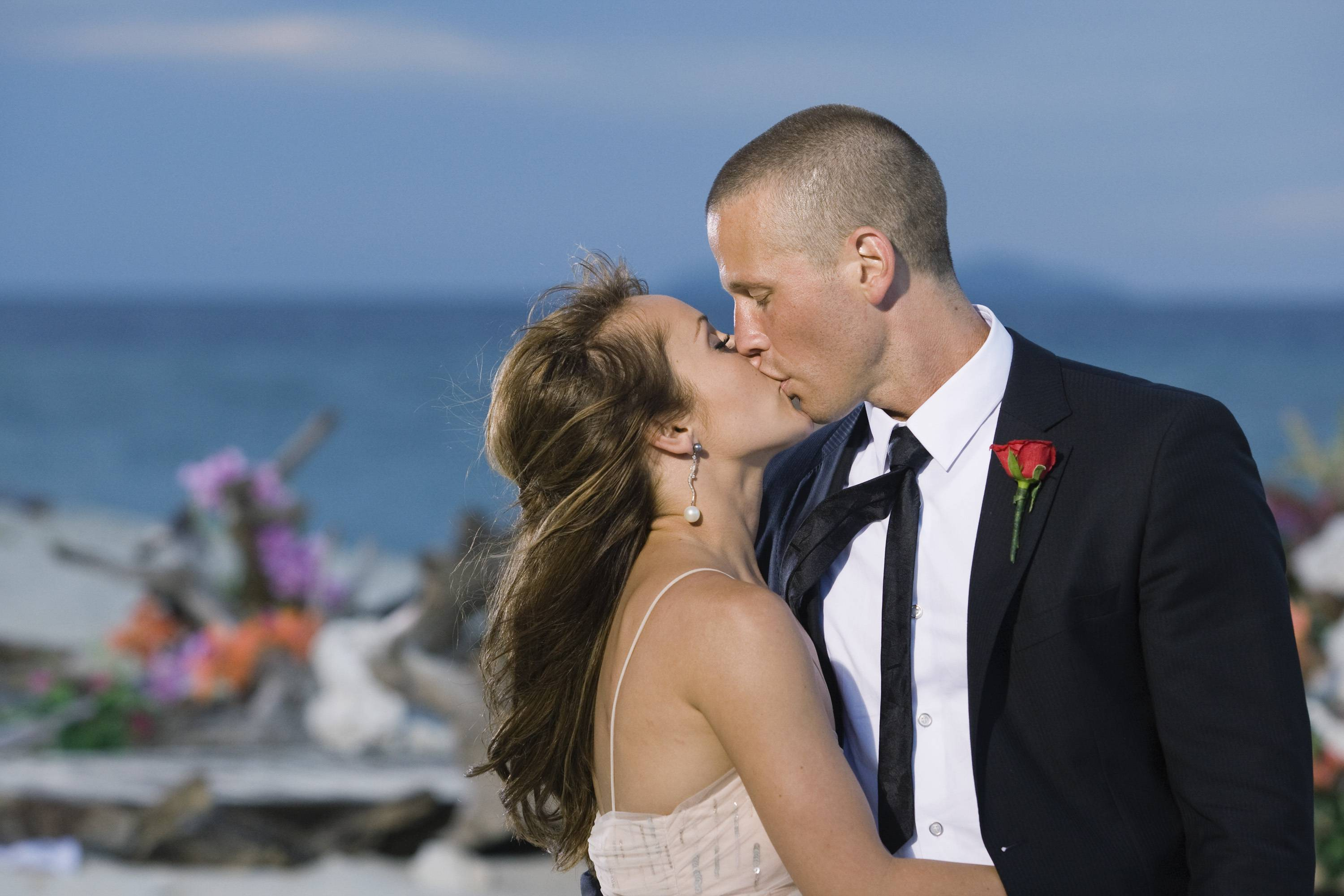 """Bachelorette"" Ashley Hebert kisses J.P. Rosenbaum on the season finale of ""The Bachelorette"" in Fiji. Hebert chose the 34-year-old construction manager over winemaker Ben Flajnik in Monday's two-hour finale."