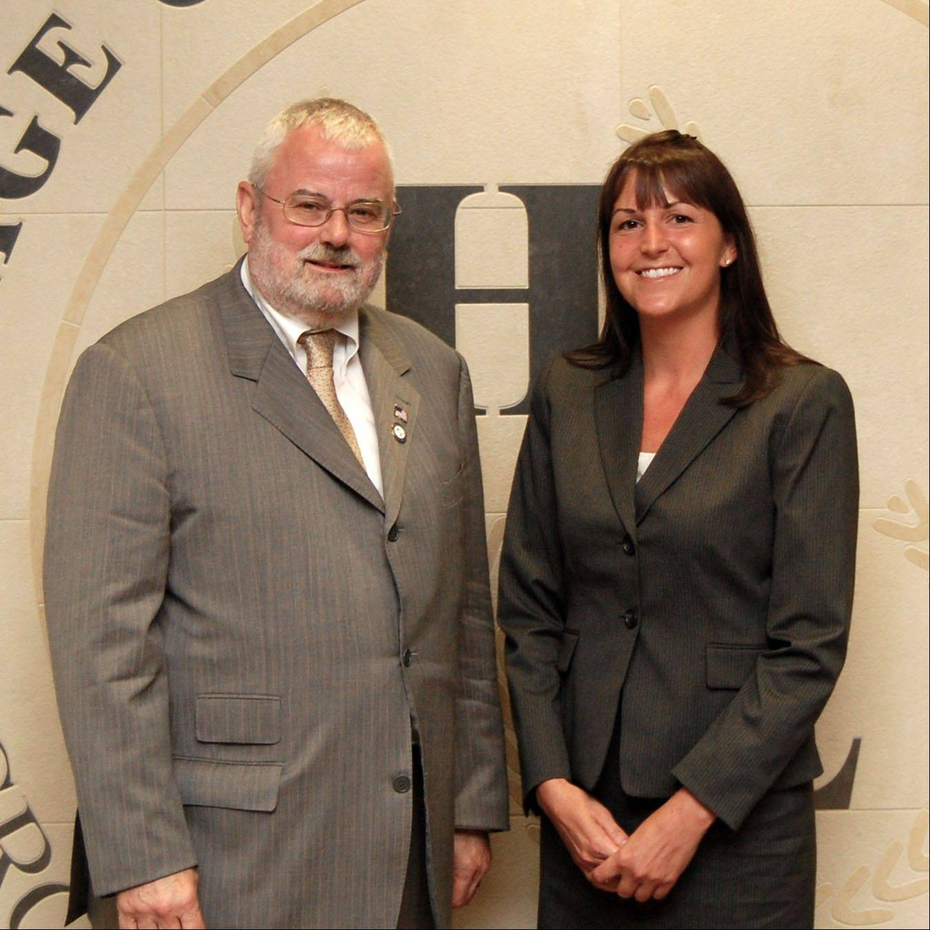 Hoffman Estates Mayor William McLeod introduces the village�s new emergency management coordinator, Nichole Collins.