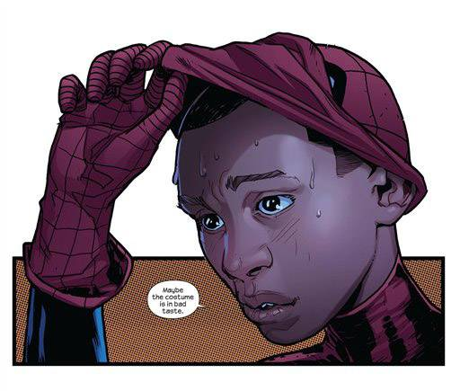 "In the fourth, and final, issue of ""Ultimate Fallout,"" the mantle of Spider-Man hero has been taken on by Miles Morales, a young African-American."