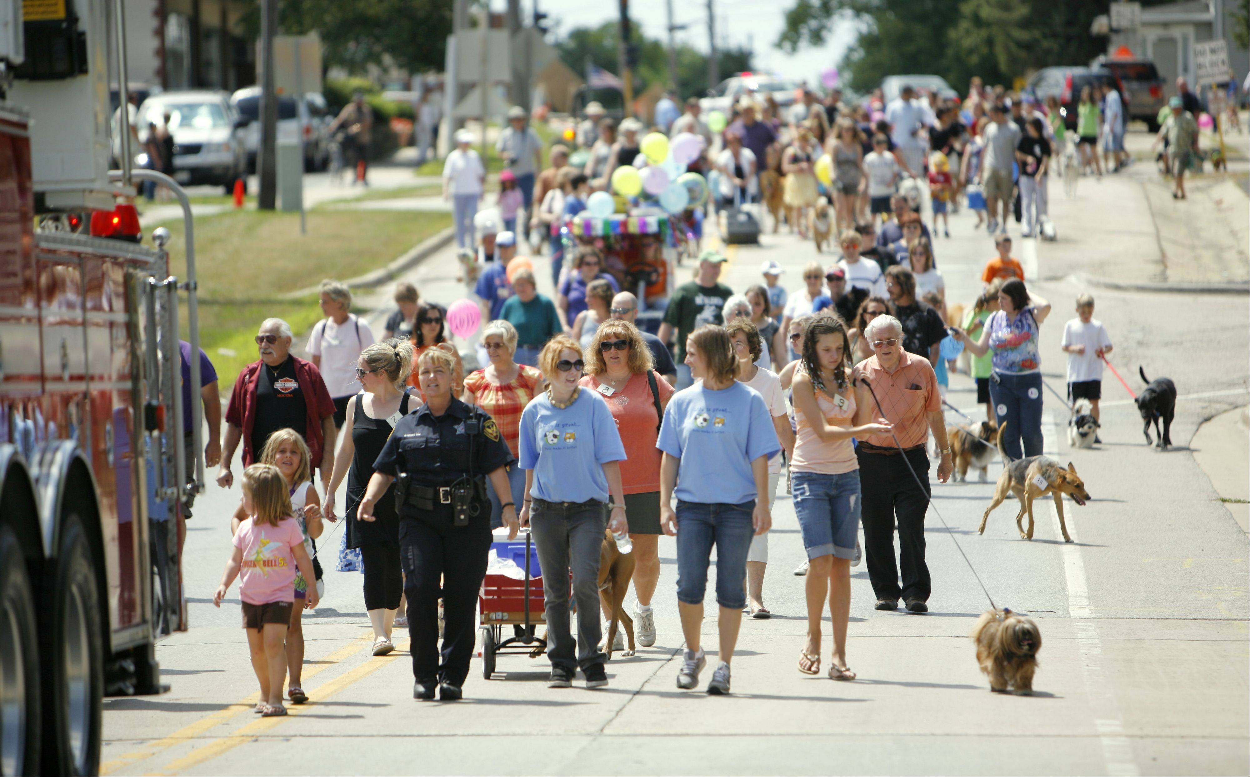 Hundreds of pets of all shapes and sizes take a stroll with their owners down State Street during last year's North Aurora Days Pet Parade.