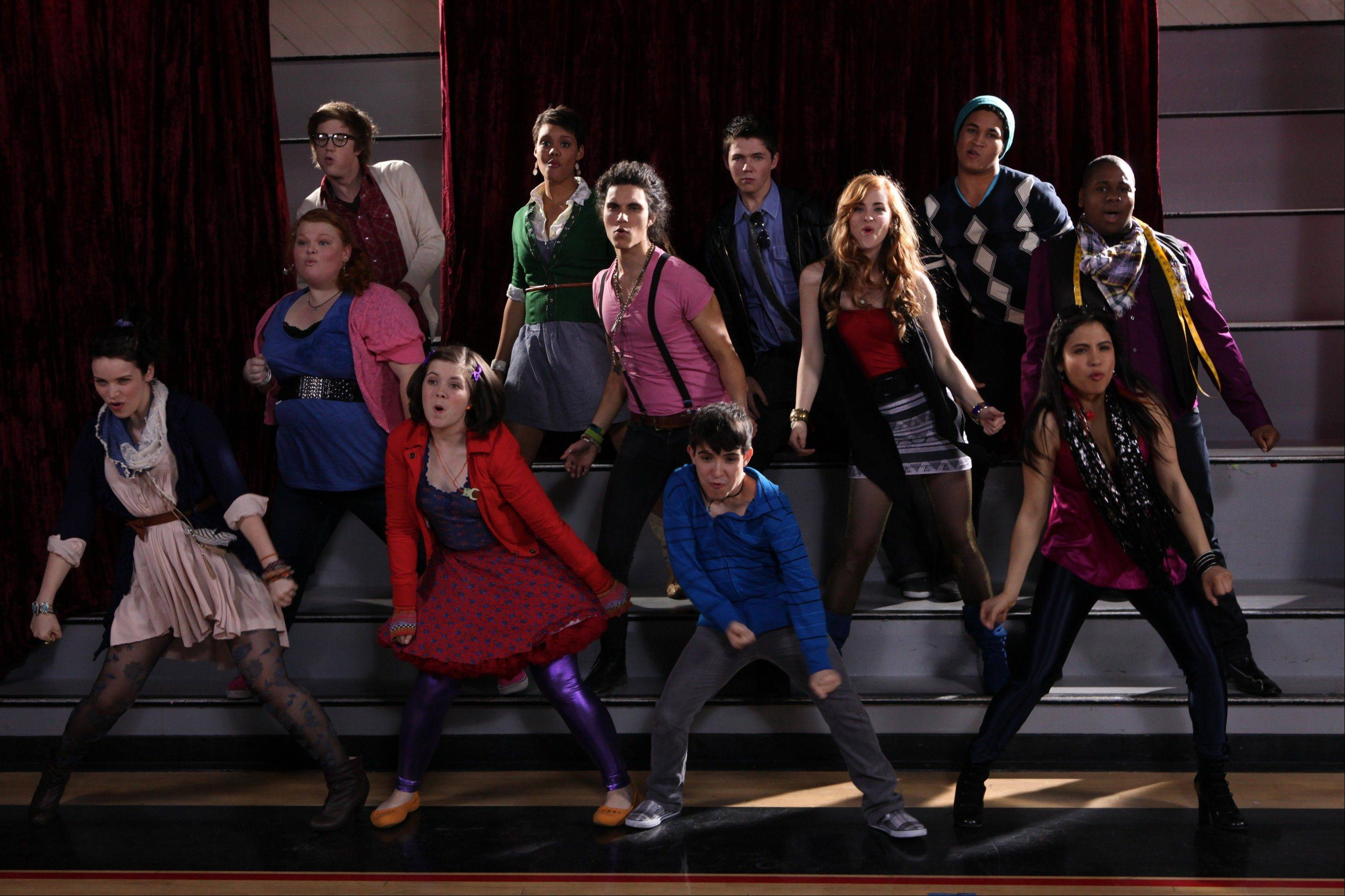 "Ellis Wylie, of Grayslake, second from right in the front row, performs a Lady Gaga song with other cast members from ""The Glee Project."" The show airs at 8 p.m. Sundays on Oxygen."