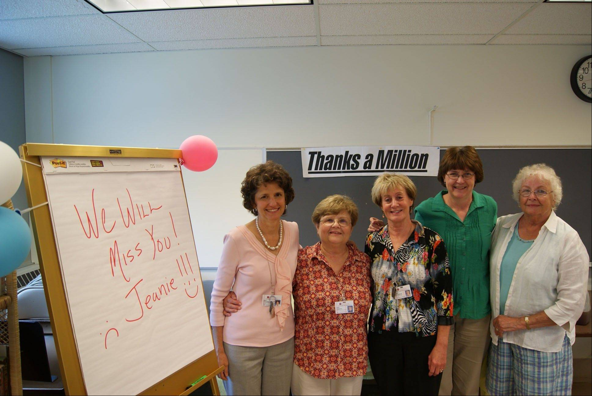 Mary Fitzgibbons, Jean Lamantia, Linda McLaughlin, Sarah Maple and Jean Russel at Lamantia�s retirement party at HandsOn Suburban Chicago.